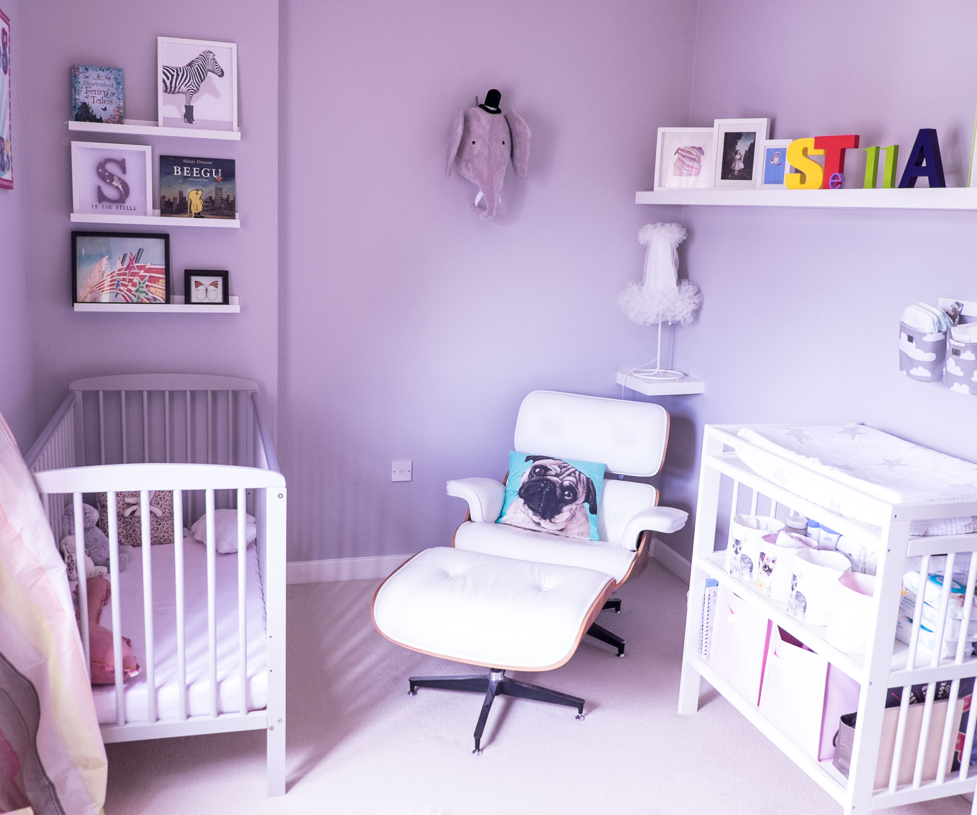 Stella's nursery look completed with my beloved Eames Lounge chair (Photography by Jonathan Lappin)