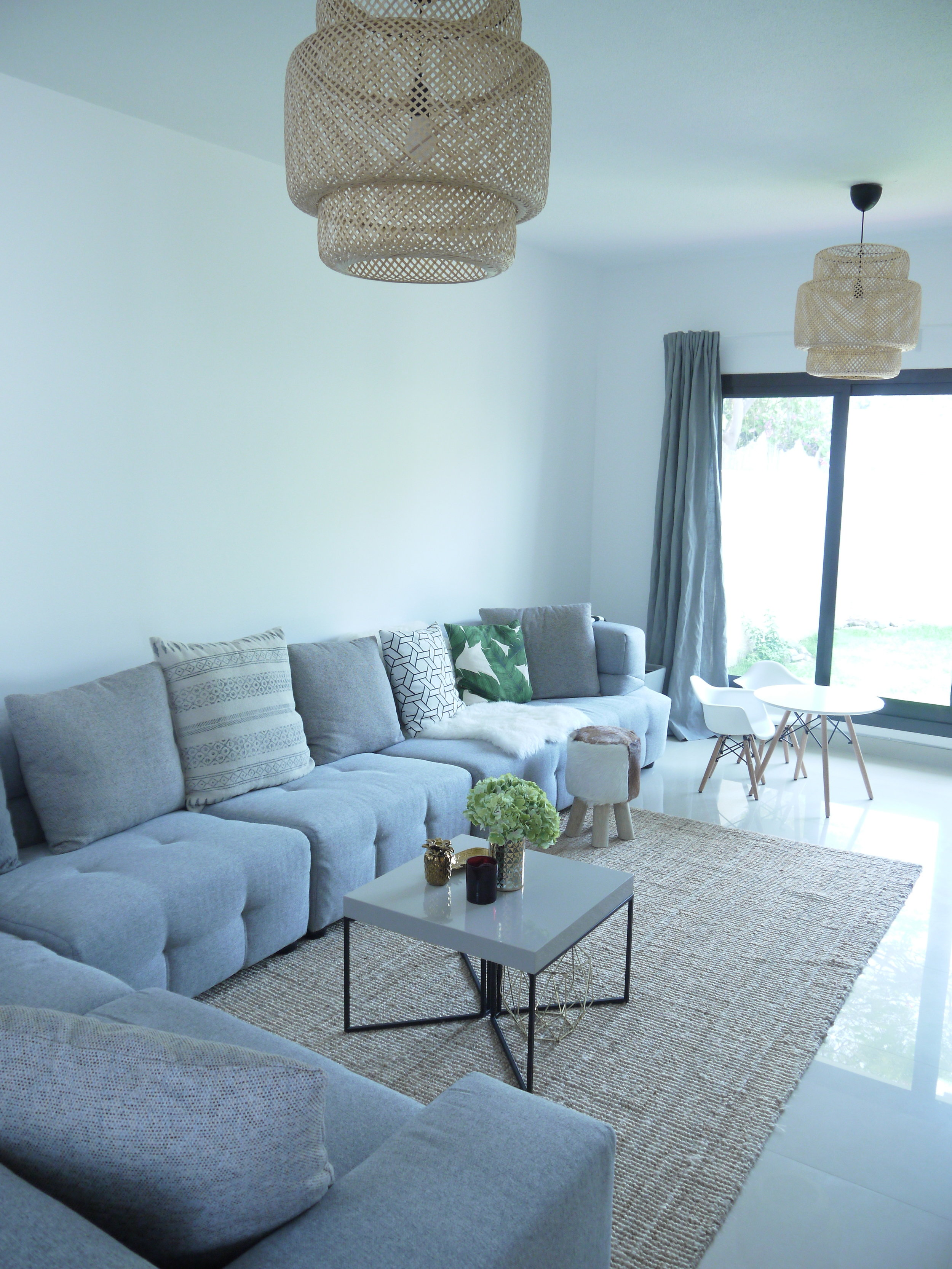 Our new pad in the desert, all minimalist, with light grey hues and soft tones, and a neutral colour palette.