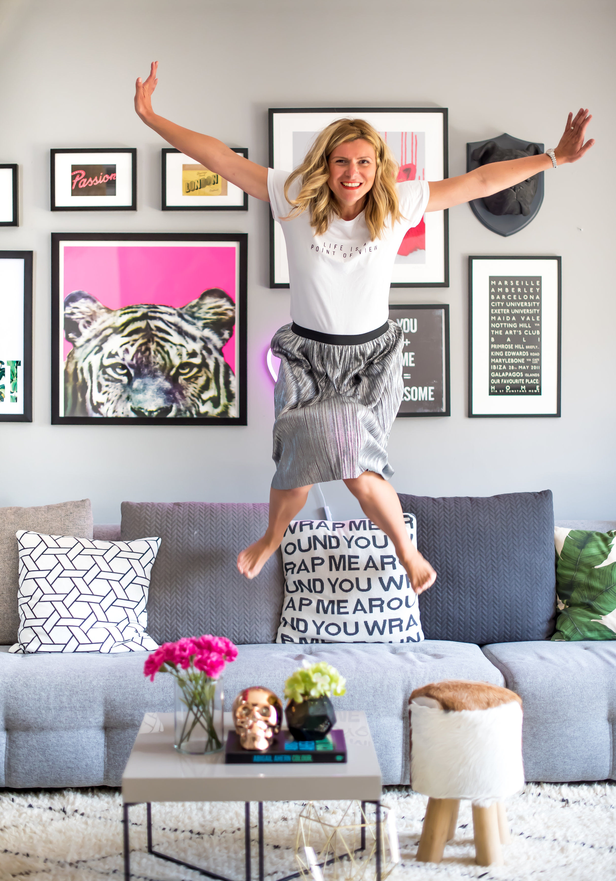 Jumping for joy as Stella + the Stars turns 2 and the living room's gallery wall is finally done (photography:  Karen Wandrag from DesignK )