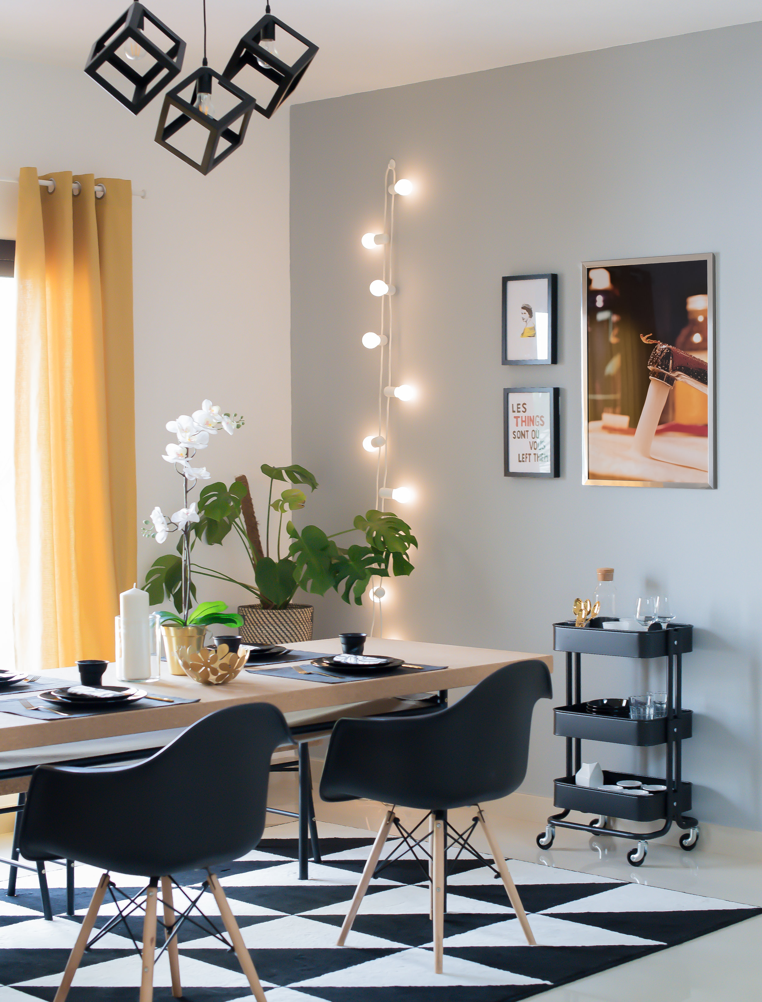 Easy Renewal: The 'AFTER' shot of my dining room refresh using IKEA accessories... (Photo credit: Karen Pissarra at  Design k )