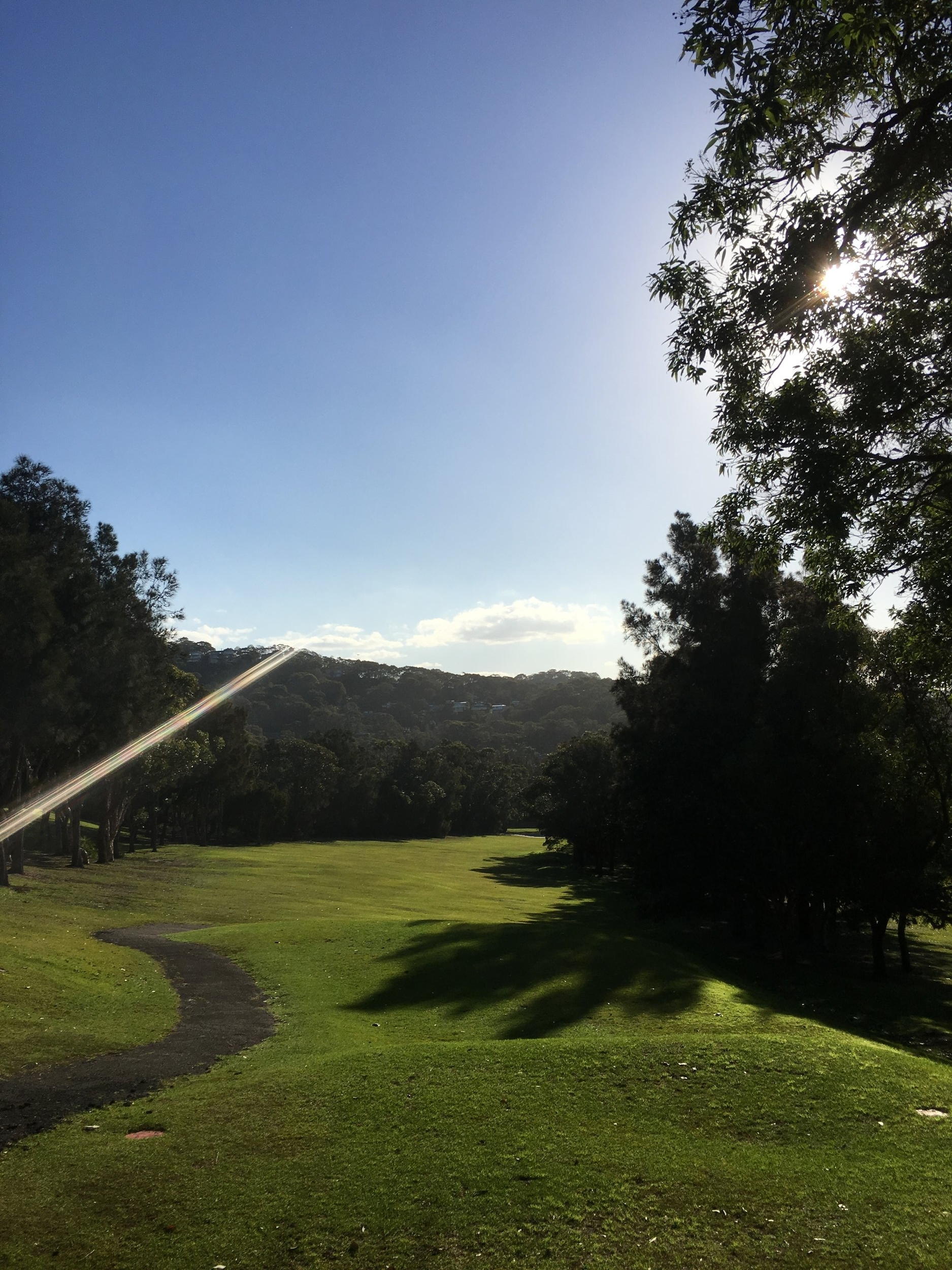 Hole Seven - PAR 4 - 285 metresThis hole begins with a great elevated tee shot to a fairway that slopes left to right. Golfer get lots of help from the downhill fairway, so aim a little left and let the fairway do its job. The 2nd shot is a tough one to a green that rolls severely from front to back.
