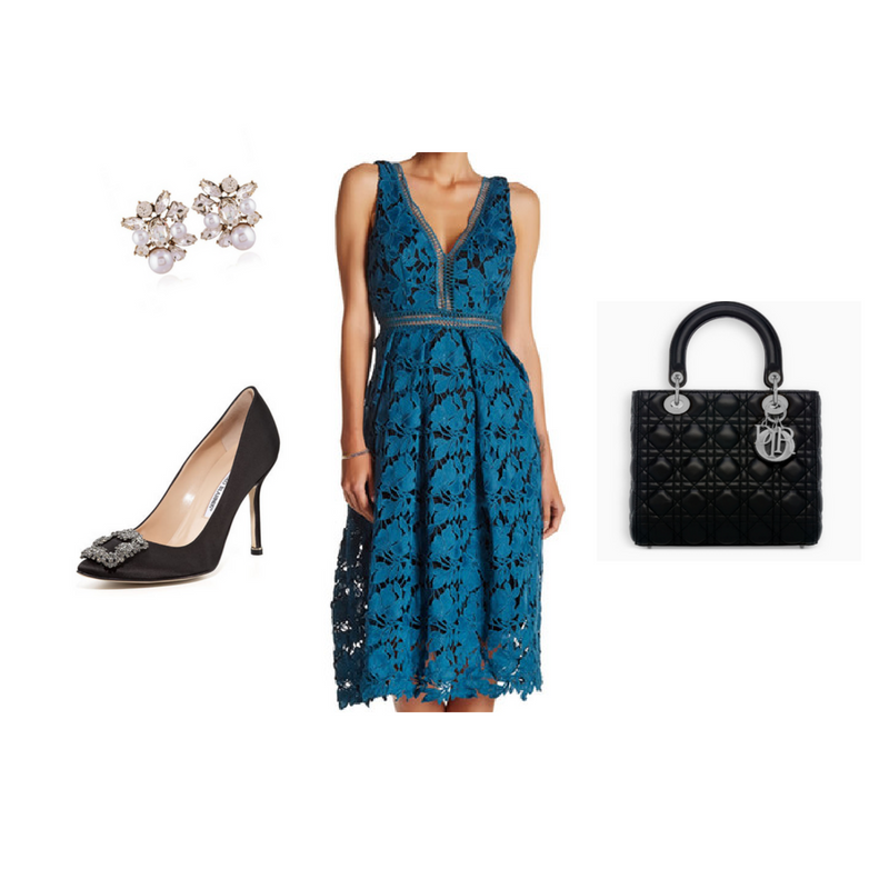 A classic Dior bag paired with a romantic knee-length dress captures Charlotte's chic but conservative style.