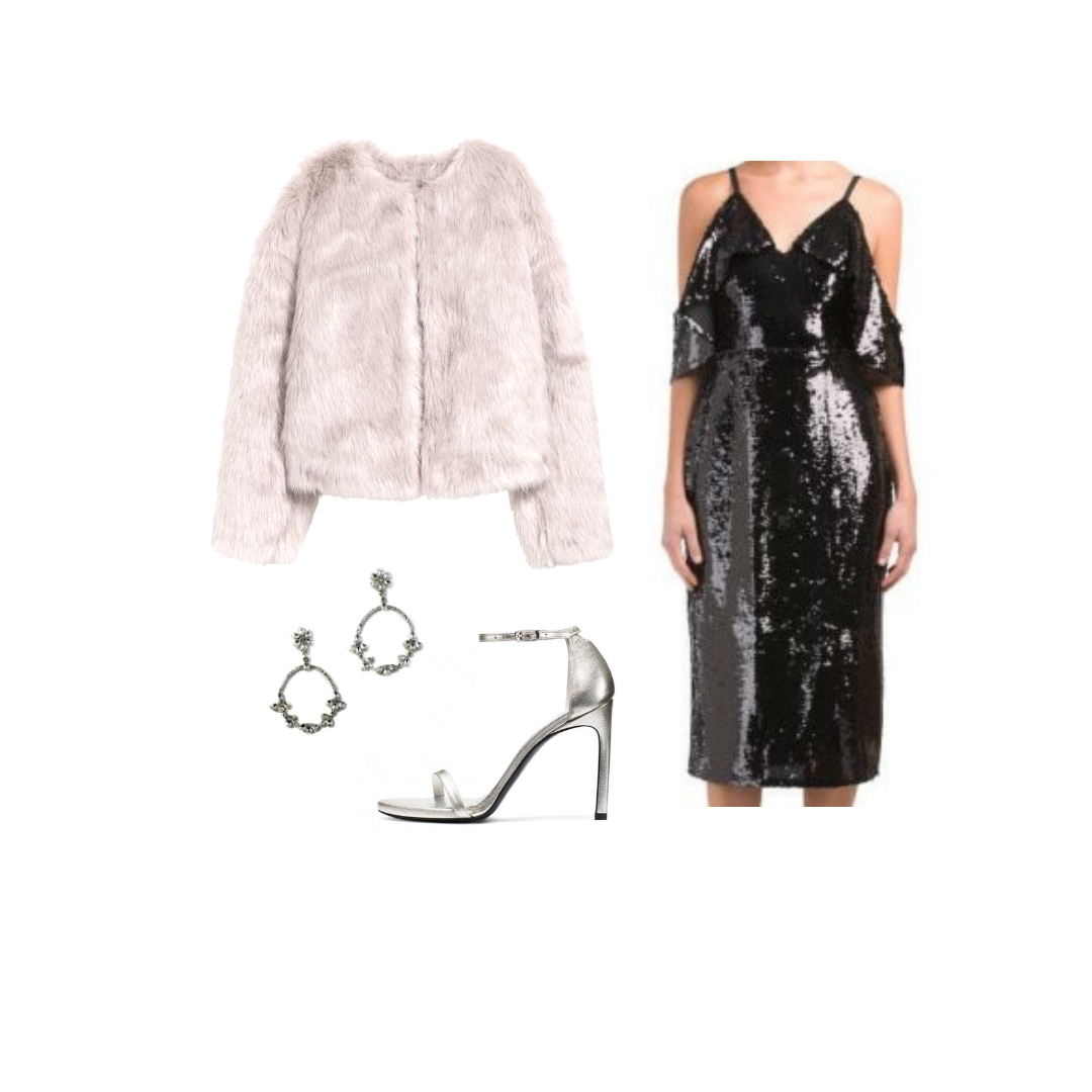 We love some shine. This sequin off-the-shoulder midi paired with   the Ava earring   is a stunning combo- but don't forget to bring a jacket to stay cozy!