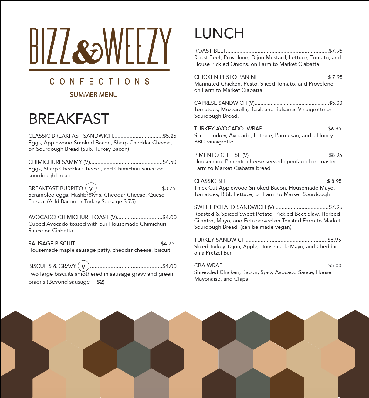Bizz & Weezy Menu - Here is a sample of the menu that would be switched seasonally.