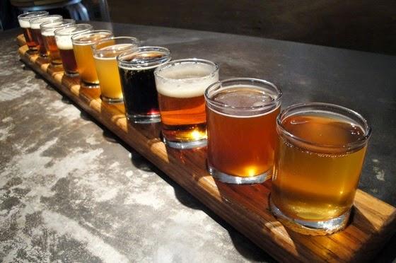Flight sampler of craft beer, image from Temple U .