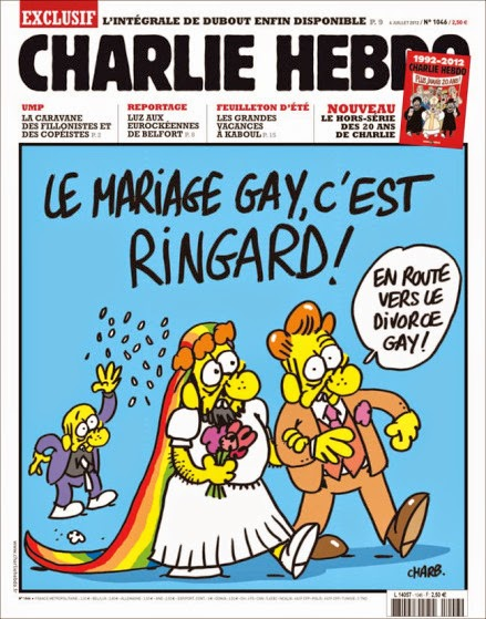 """""""Gay marriage is so last year!"""" """"Let's go for gay divorce now!""""—  Charb"""