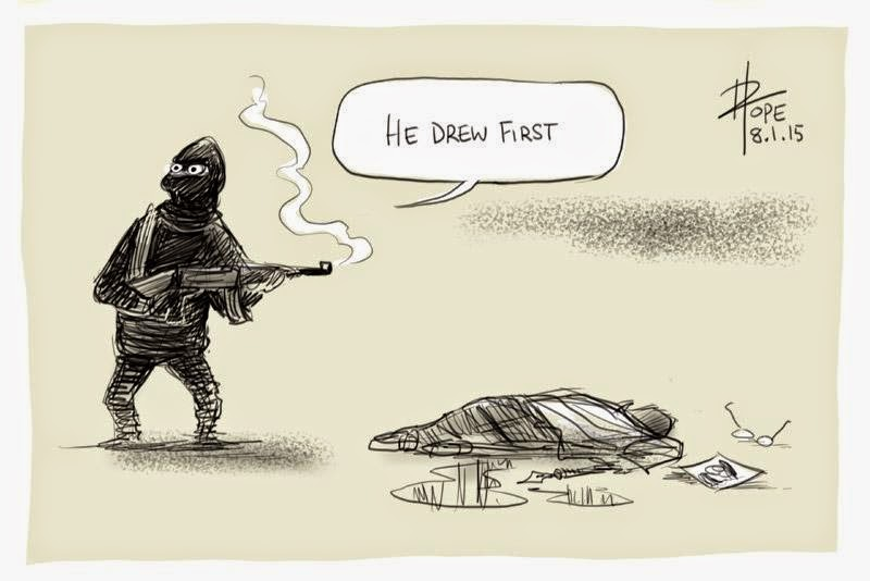 Cartoon by  David Pope  .