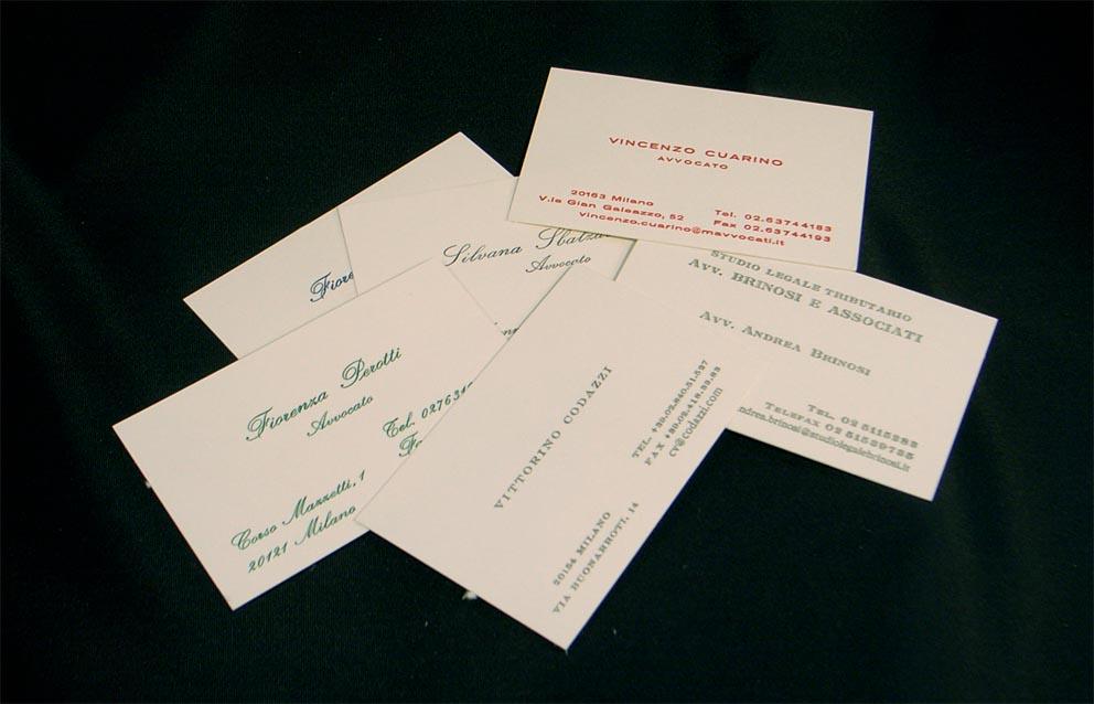 biglietti da visita stampati in termorilievo, carattere Chevalier