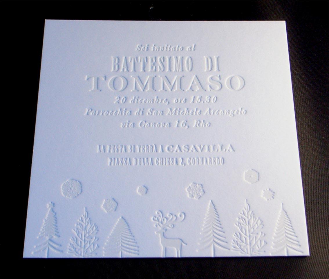 biglietto invito stampato in letterpress senza colore, su cartoncino da 900 gr