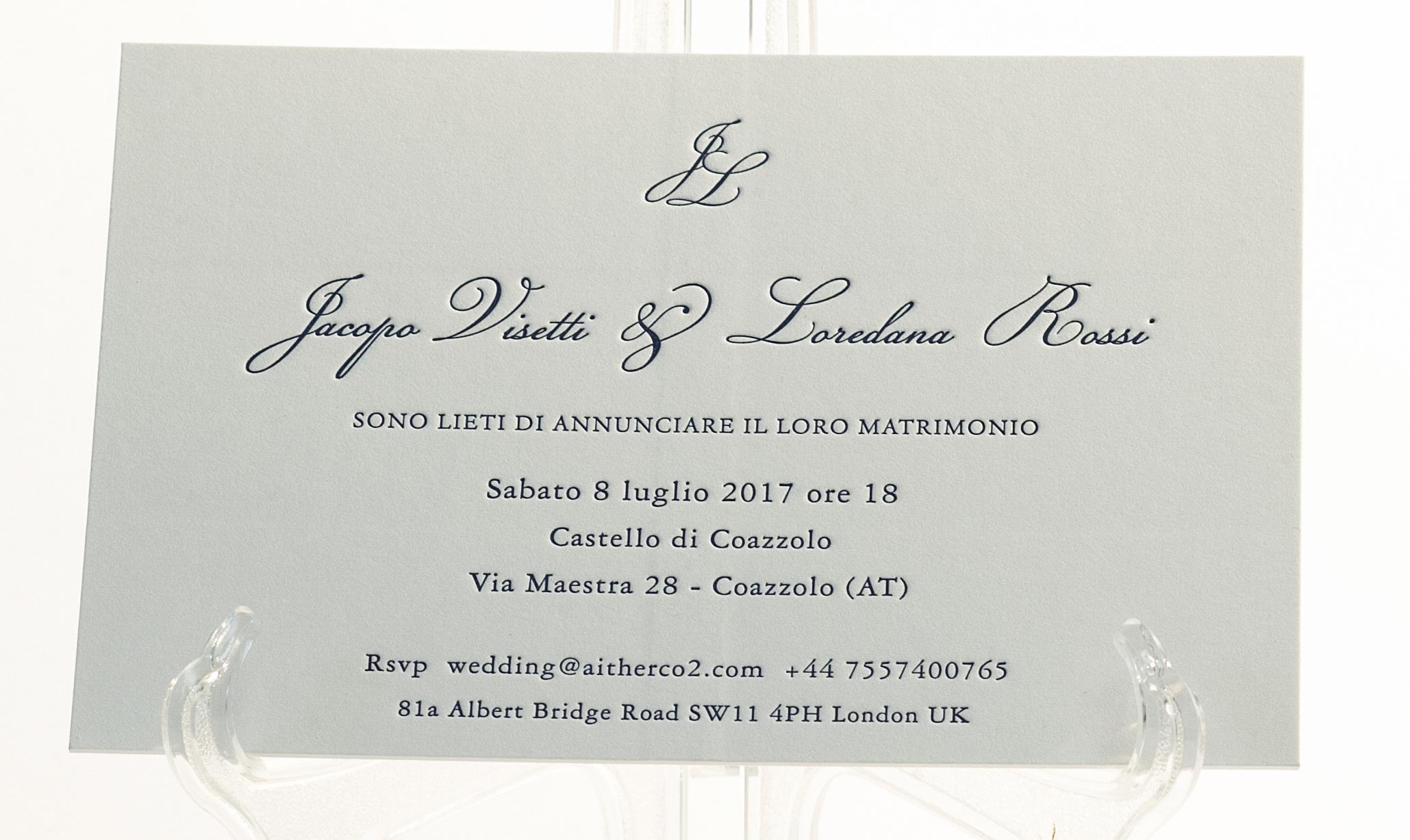 Carta Gmund 900 gr, stampa Letterpress a 1 colore