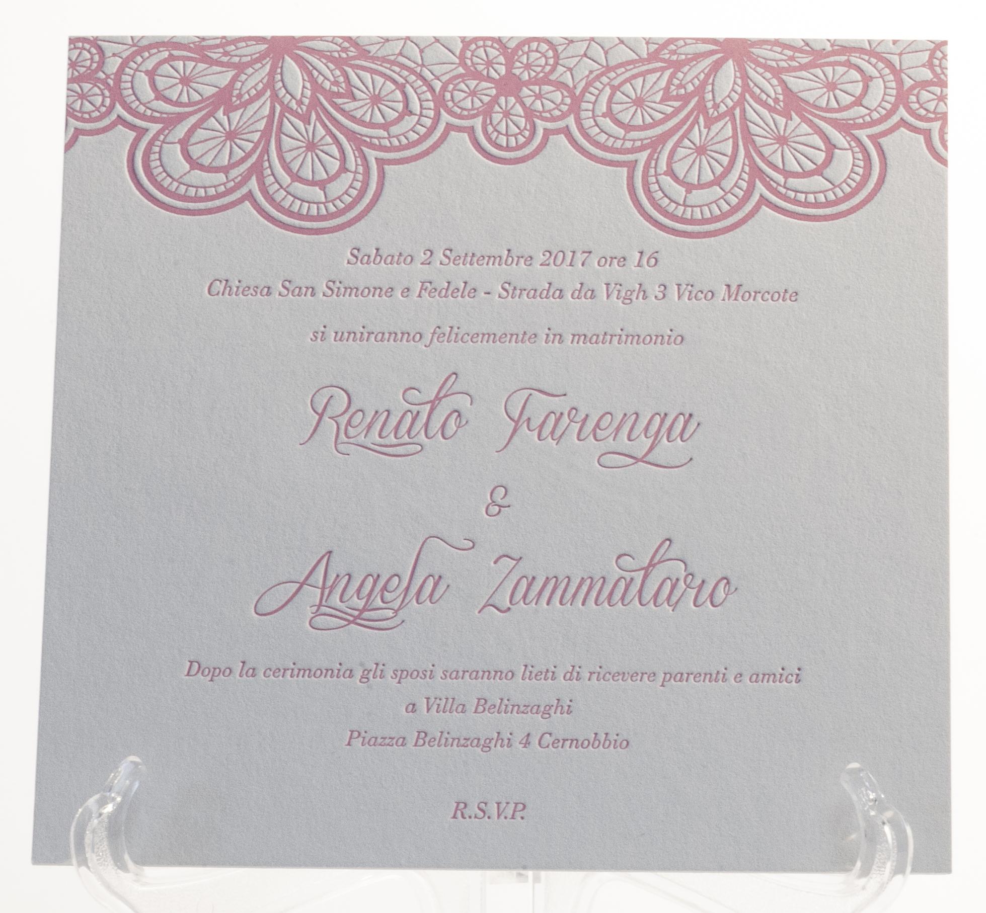 Carta Fedrigoni Materica Gesso 360 gr, stampa Letterpress a 1 colore