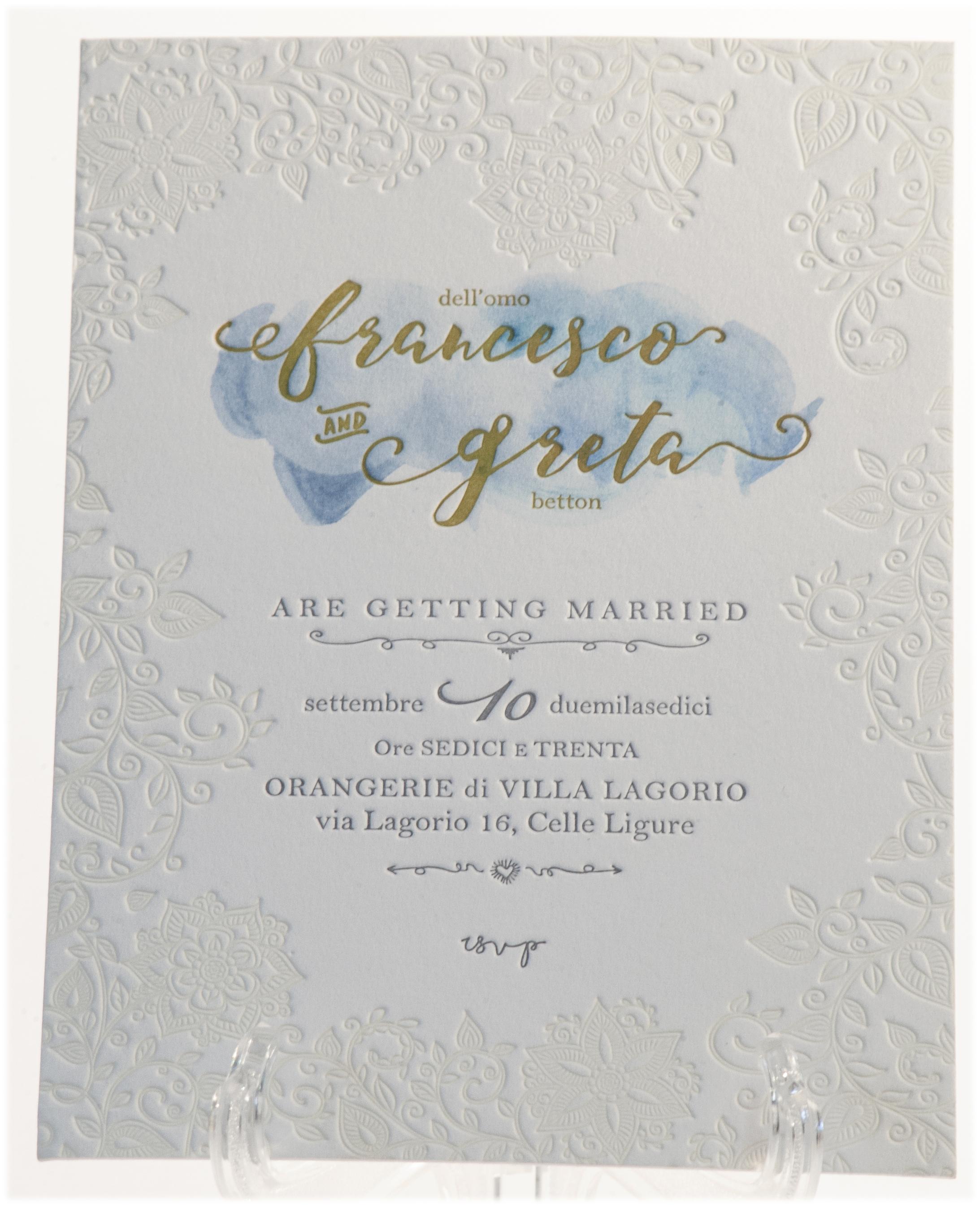 Carta Gmund 900 gr, stampa Letterpress a 3 colori + acquarello
