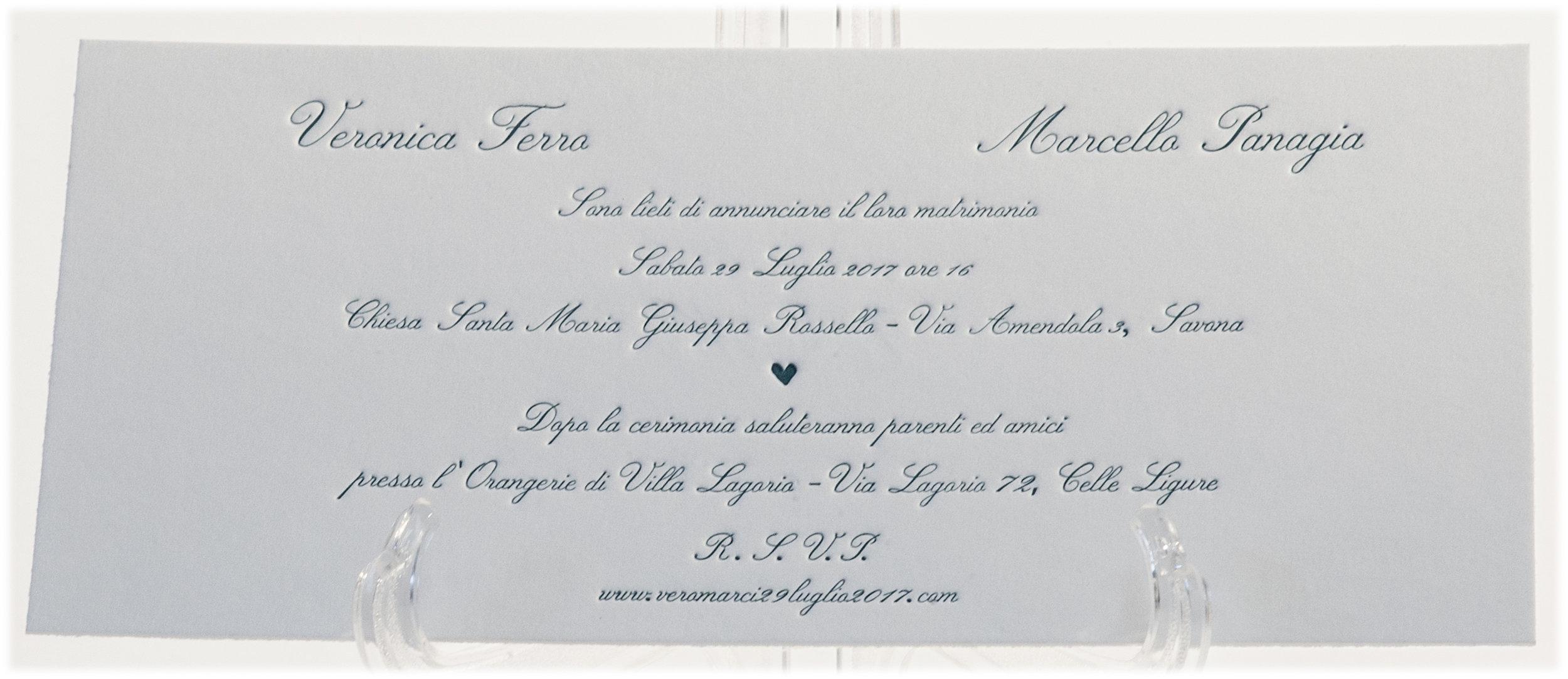 Carta Gmund 600 gr, stampa Letterpress a 1 colore