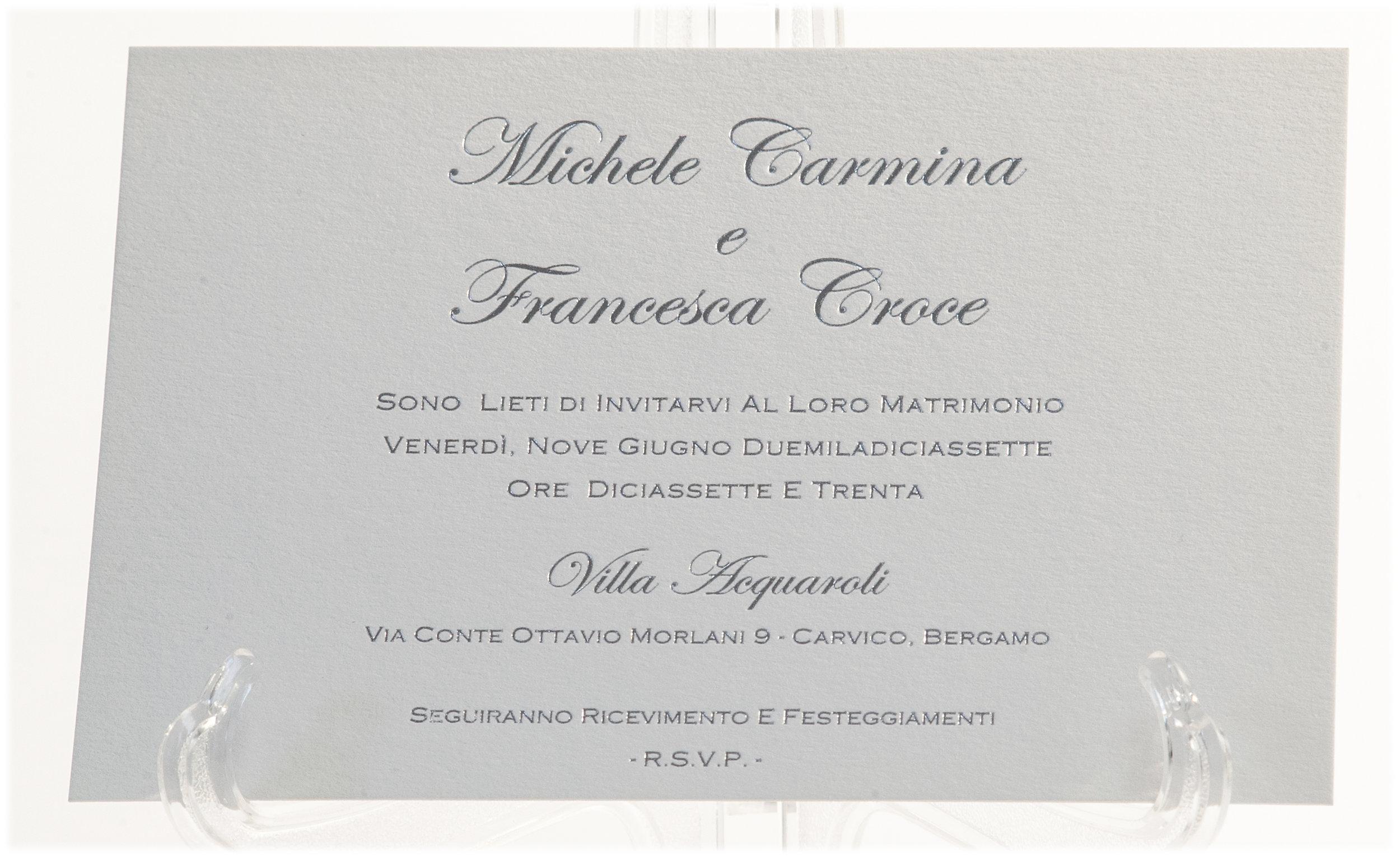 Carta Fedrigoni Materica Gesso 360 gr, stampa argento a caldo