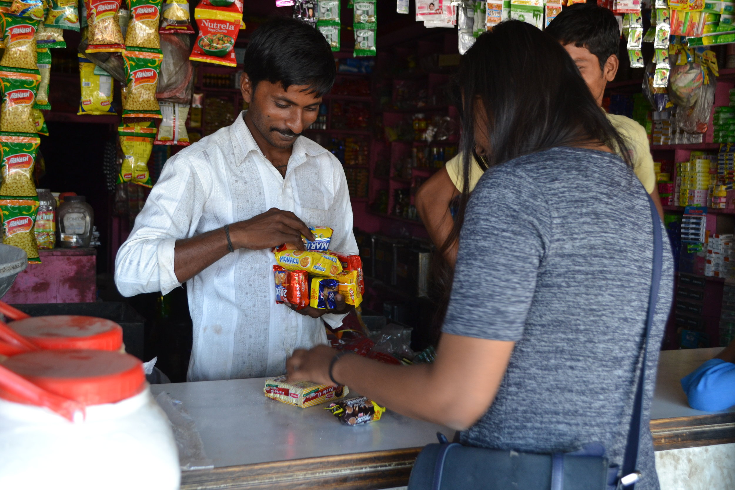 Shopping at the corner stall.