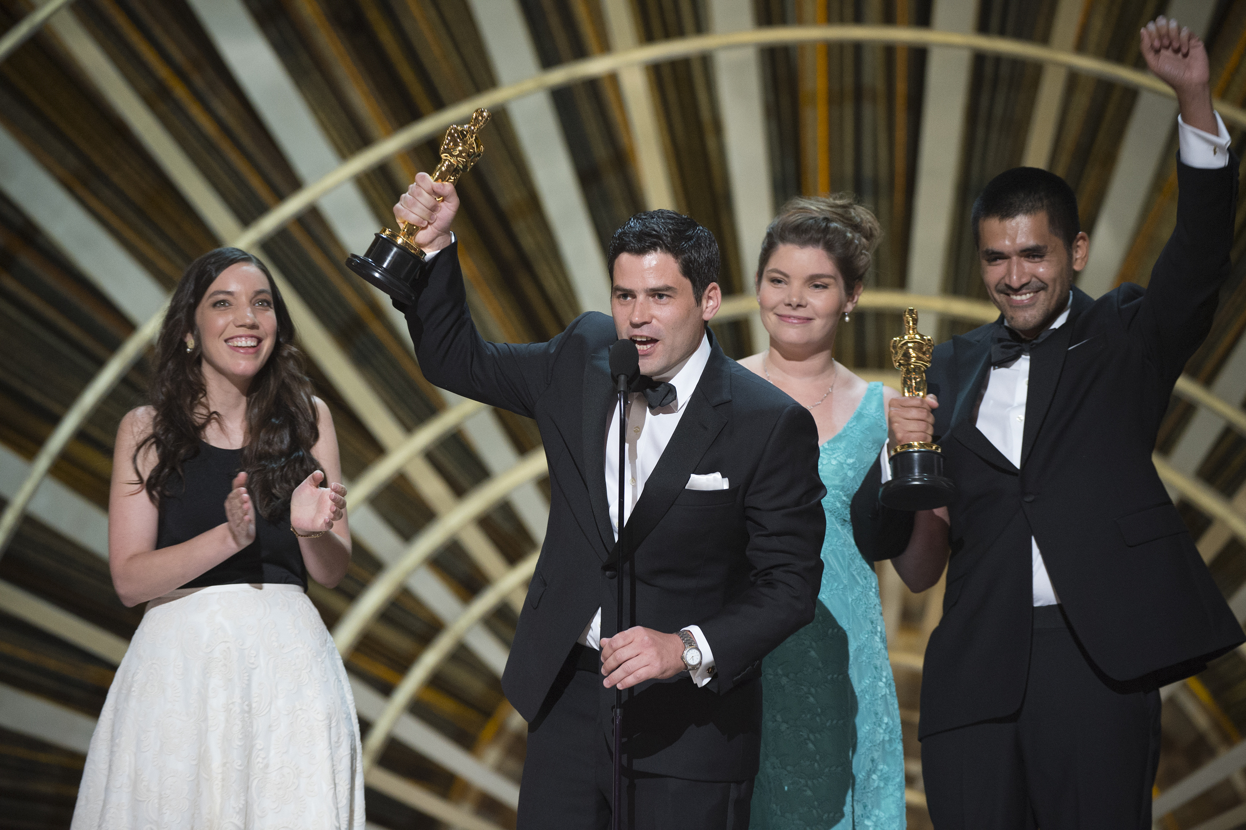 """Pato Escala and Gabriel Osorio win Chile's first Oscar for their animated short film """"Bear Story."""" (ABC/Image Group LA)"""