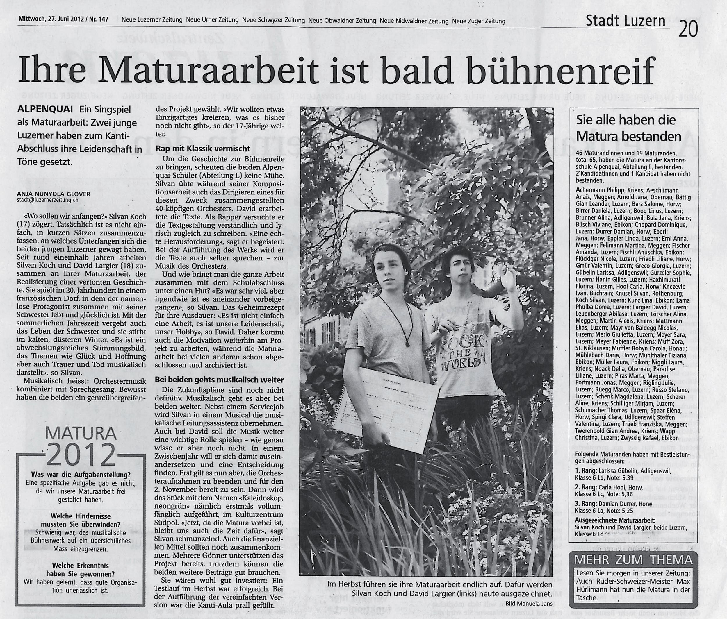 KALEIDOSKOP, neongrün @ Neue Luzerner Zeitung