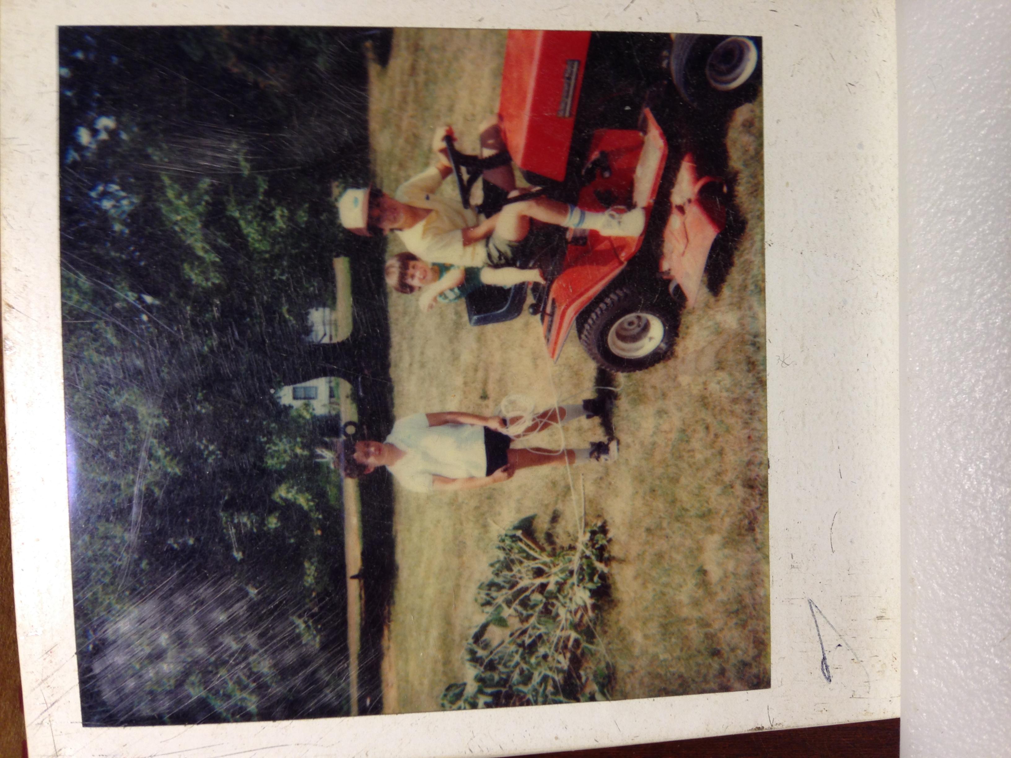Photo of Dunphy boys as children doing work around farm.