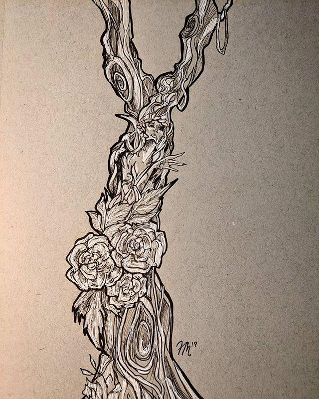 #inktober Day 14: OVERGROWN  #drawing #draw #ink #sketch #love #artist #fallonelisabeth #artistsoninstagram #artstagram #illustration #creative #new #inspired #paper #sketch #art #draw #magic #fantasy #fantasyart #night #sketchbook #october #autumn #fall #druid #inked #create #overgrown #inktober2019