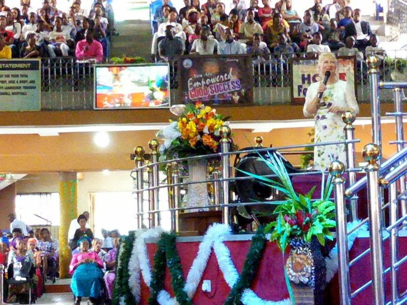 Catherine Brown speaking in Nigeria