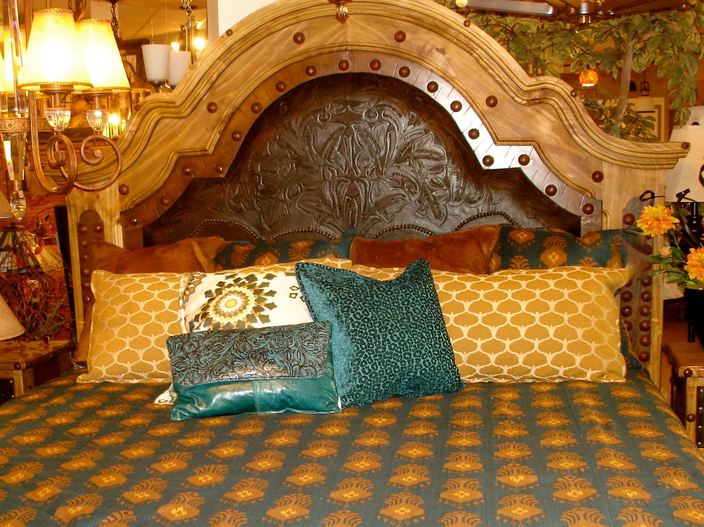 Southwest Tooled Leather Bed