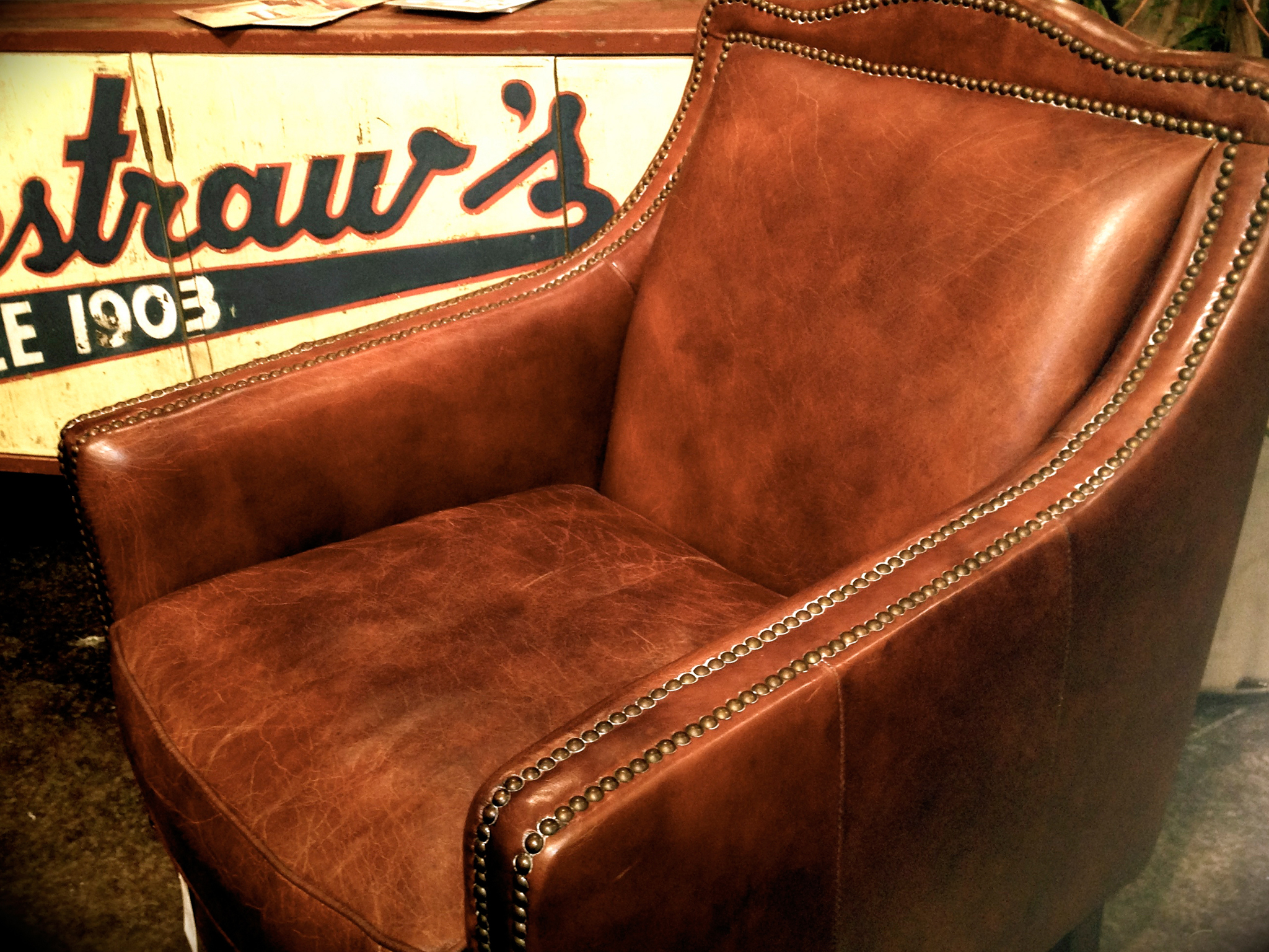 Small Distressed Leather Chair