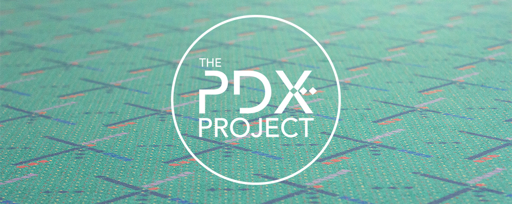 Logo created for The PDX Project, a small company selling items made from the PDX carpet and other carpet-themed merchandise