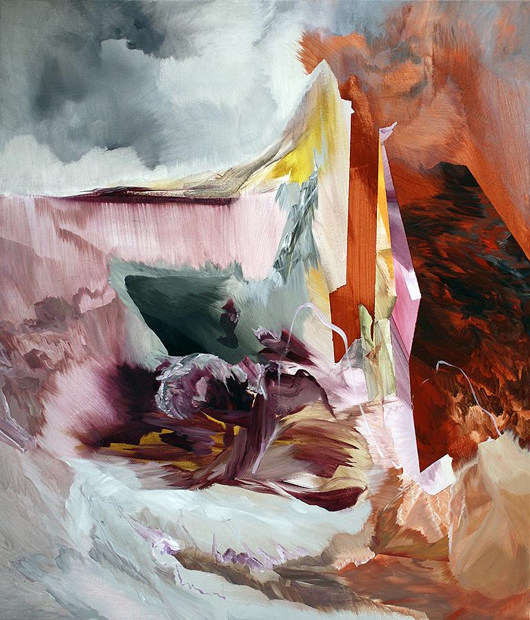 "Shelterbelt     acrylic on canvas  43"" x 36"""