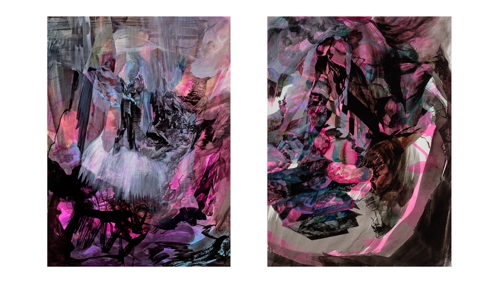 "Scylla and Charybdis - diptych     watercolour and ink on paper  30"" x 44"""