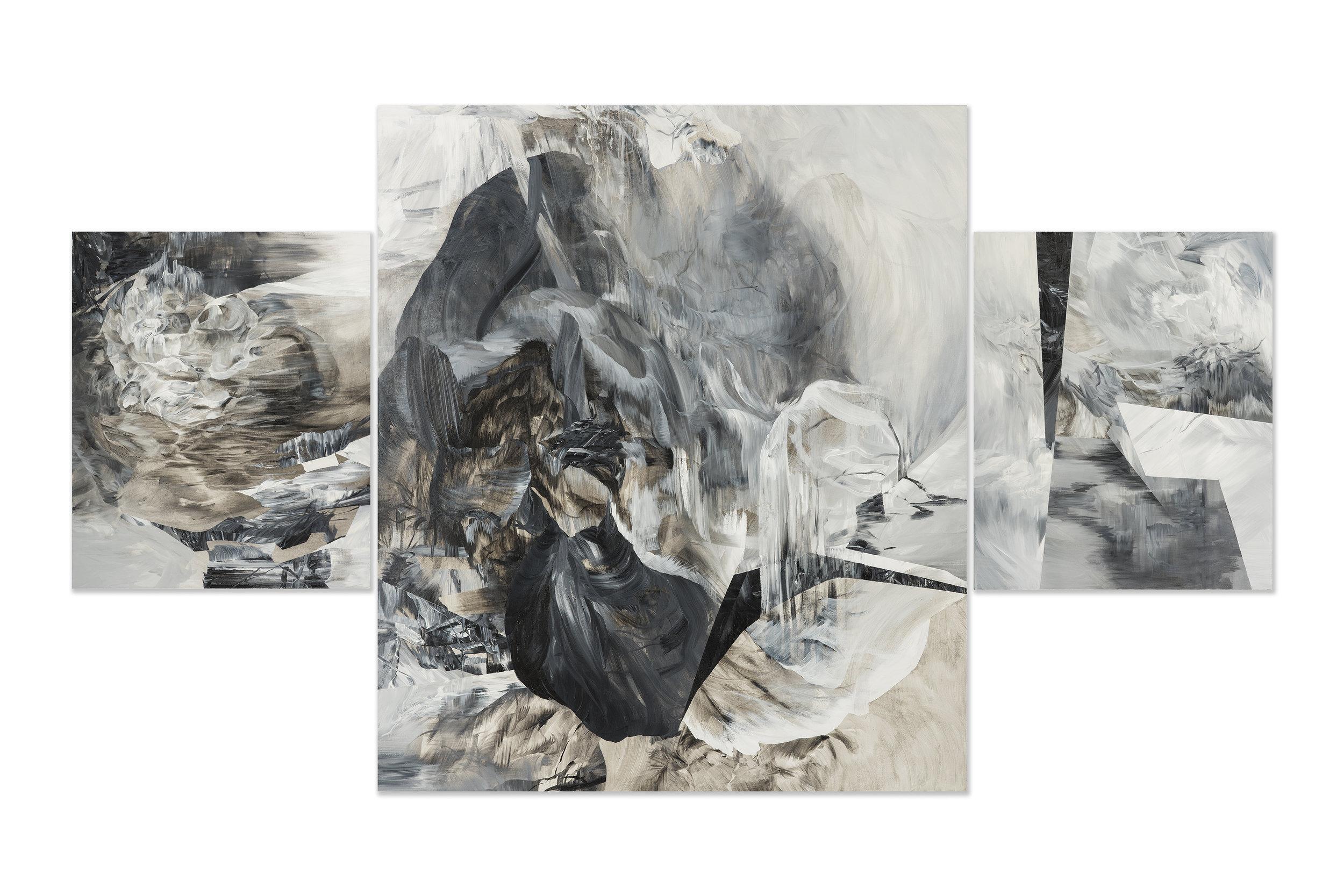 """Altar - Triptych     acrylic on canvas  84"""" x 144"""""""