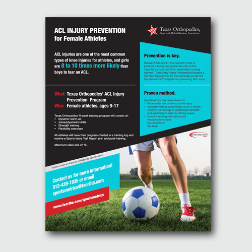 Texas Orthopedics ACL Injury flyer