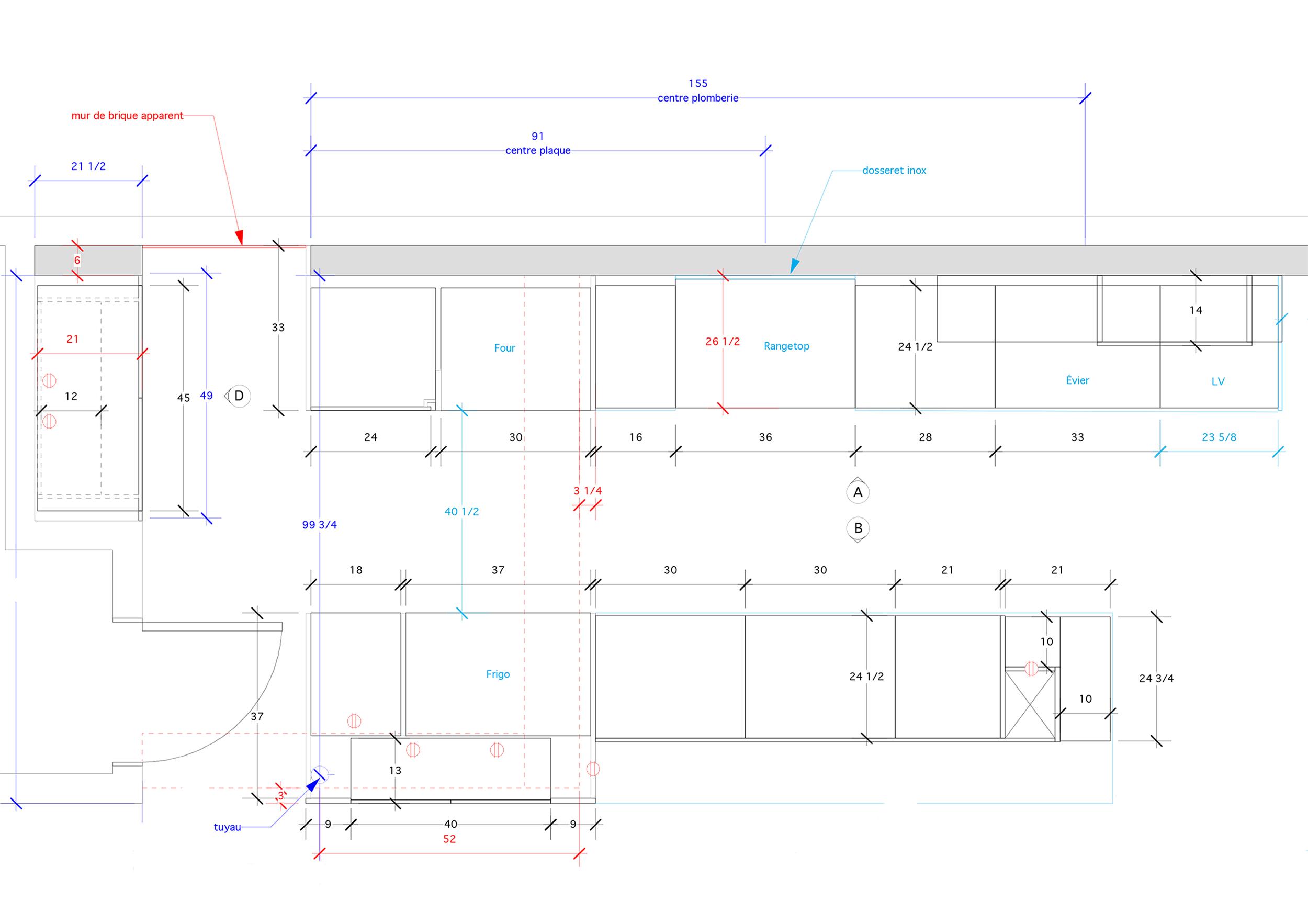 - Cette maison typique, profonde et étroite, du Plateau Mont-Royal de Montréal met en valeur les caractéristiques, telles que les poutres apparentes et murs de brique, propre à ce type de demeure. Cette cuisine expérimente les couleurs, les formes et textures pour créer un espace vivant et dynamique. Une cuisine pour tous qui incite les petites mains à se mettre au boulot pour participer à la création de plats imaginatifs!Matériaux: laque de polyuréthane grise et bleue avec 30% de lustre, placage de noyer noir - effet planche, dosseret de verre, comptoir de quartz.