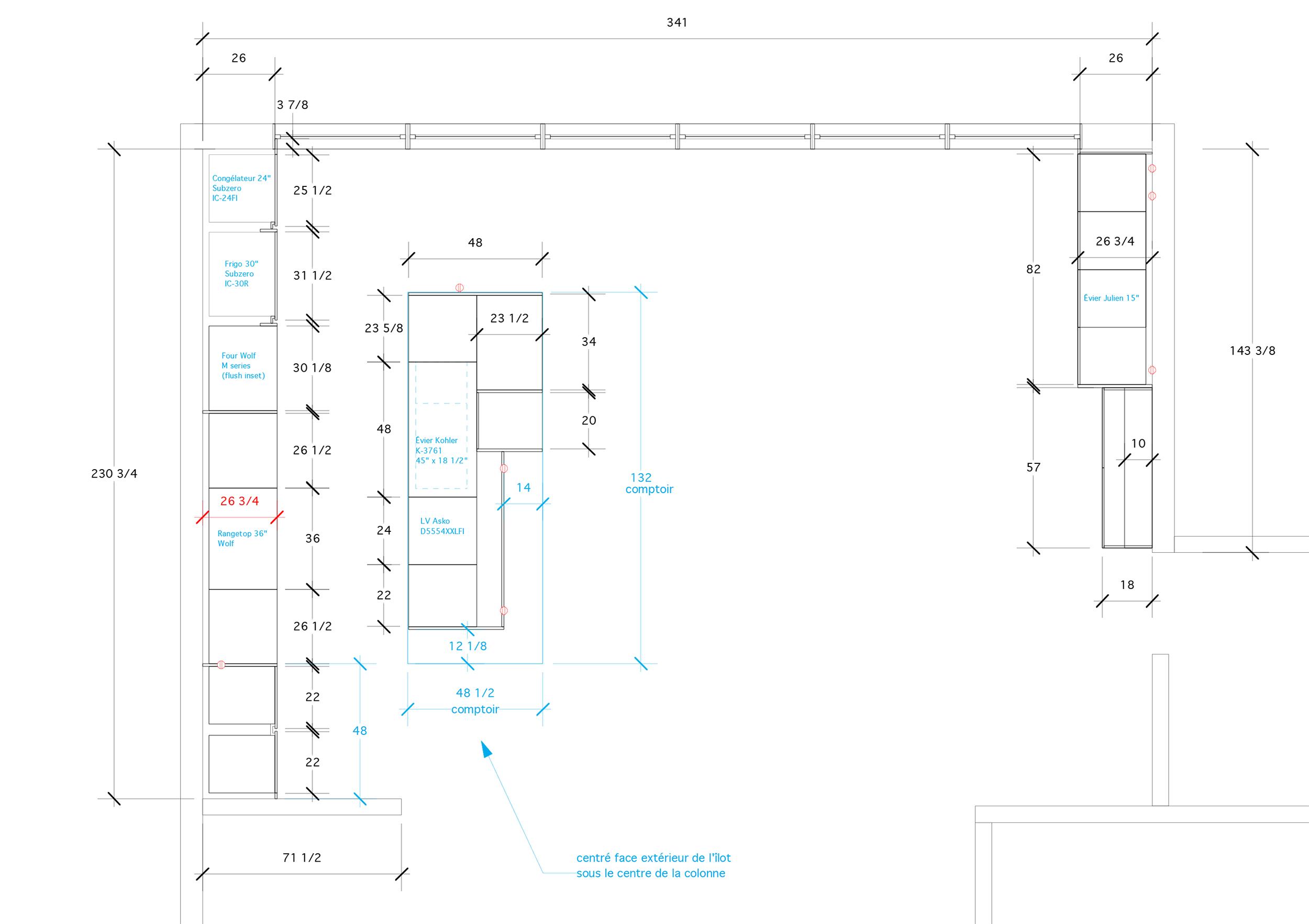 - Ce projet d'agrandissement d'une demeure d'Outremont met de l'avant l'espace familial où la cuisine est la pièce maîtresse de l'espace. Une cuisine lumineuse remplie de rangements dissimulés conjuguant la chaleur et un design intemporel. Un espace de vie spacieux et lumineux pour une famille nombreuse...Matériaux: laque de polyuréthane blanche avec 30% de lustre, placage de noyer noir d'amérique effet planche, comptoir de lapitec et acier inoxydable, dosseret de verre, bibliothèque d'acier chaud et bois.