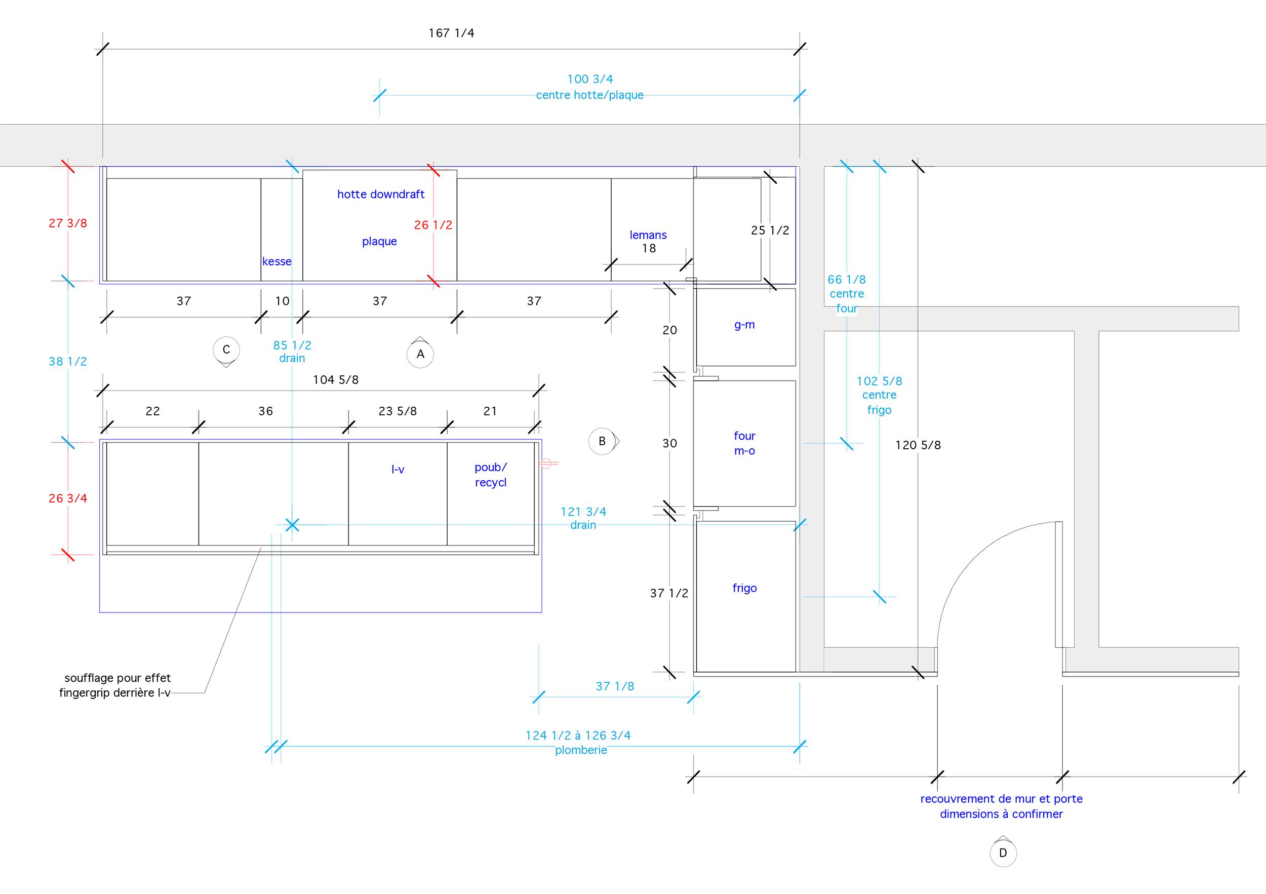 - Articulé autour d'un bloc de noyer cette cuisine, au coeur d'une rénovation majeure, est le point focal de l'étage à aire ouverte. L'utilisation de l'acier à chaud jumelé au noyer noir d'amérique donne un ton dramatique à la cuisine pour une intégration parfaite avec l'architecture des lieux.Matériaux: laque polyuréthane blanche 30% de lustre, dosseret et tablettes en acier à chaud, placage de noyer noir effet planche, comptoir dekton.