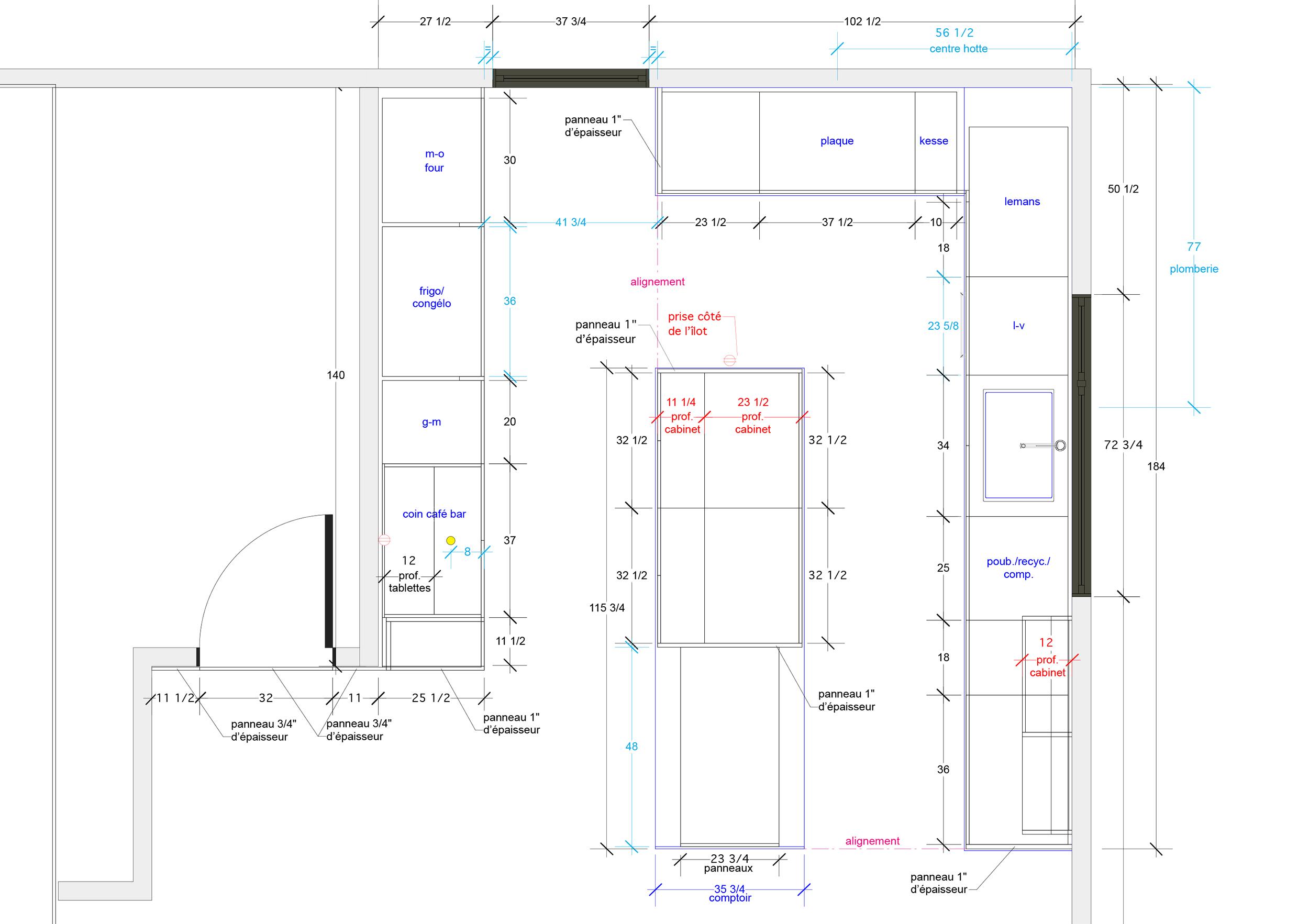 - Cette cuisine rythmée par ses contrastes est le fruit d'une rénovation majeure incluant l'agrandissement de la maison existante. À la fois chaleureux et masculin, l'espace est magnifié par un escalier central tout en transparence.Matériaux : laque de polyuréthane gris pâle et gris anthracite avec 20 % de lustre, placage de noyer noir - effet planche, comptoir en quartz, en Laminam à l'îlot et en acier inox brut dans le coin café-bar.