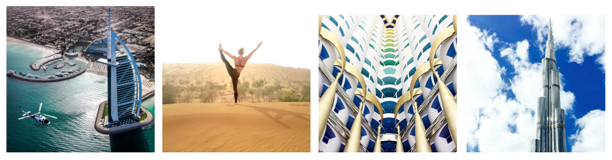 Photos Sources from left to right: Visit Dubai, Visit Dubai, Visit Dubai and burjkhalifa Instagram pages
