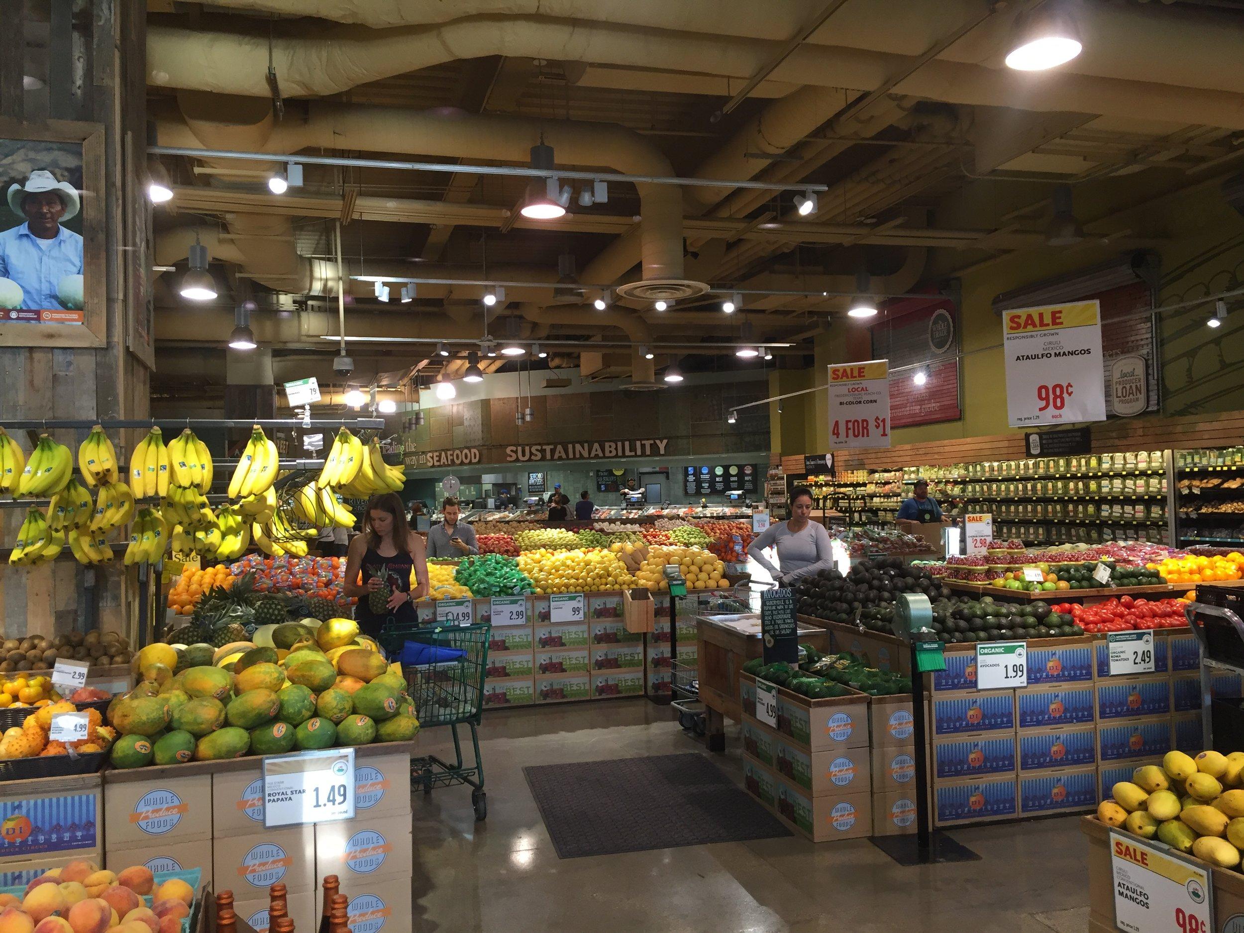 Fresh produce inside Whole Foods Market in Austin, TX