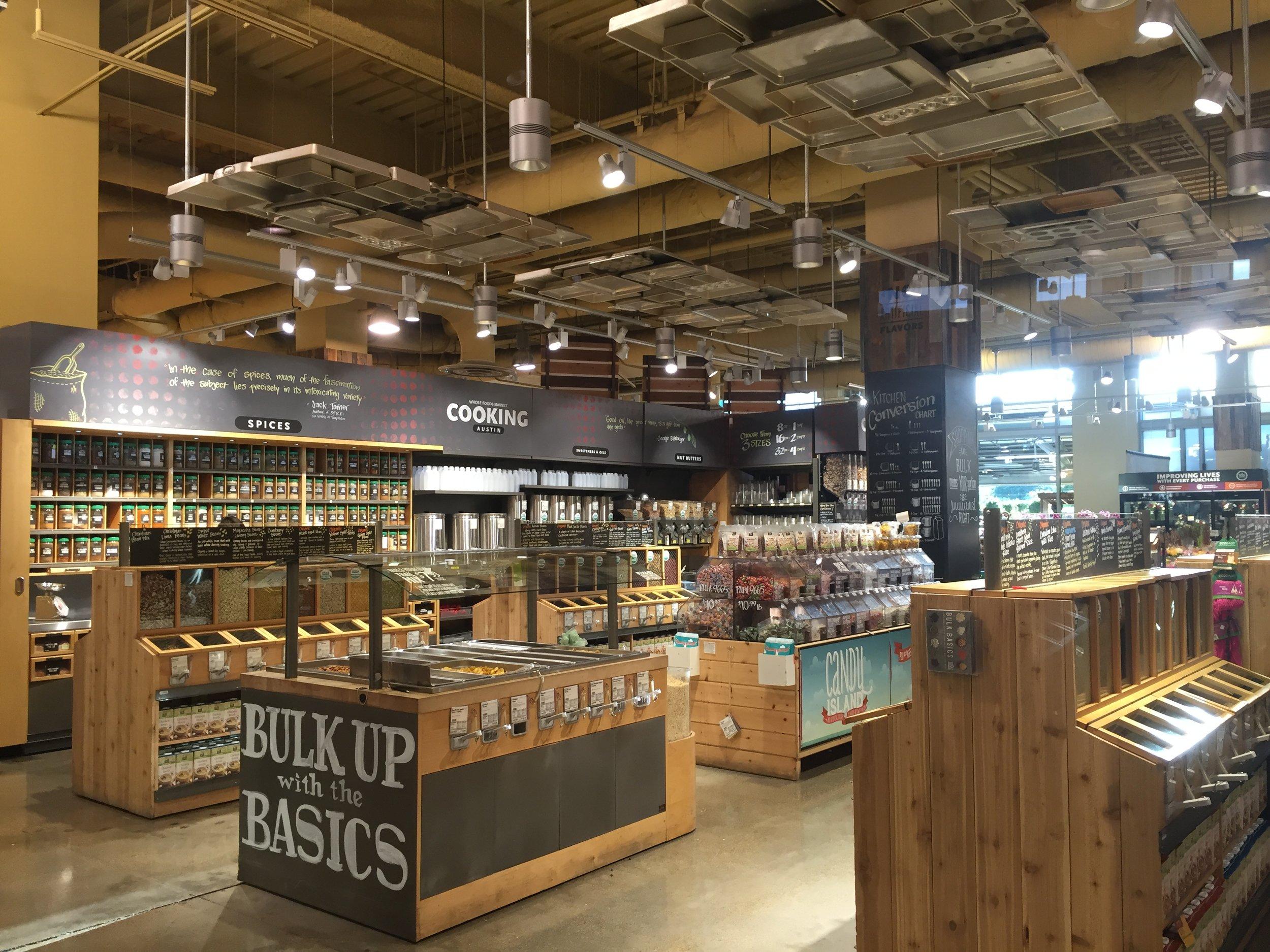 Bulk section inside Whole Foods Market in Austin, TX