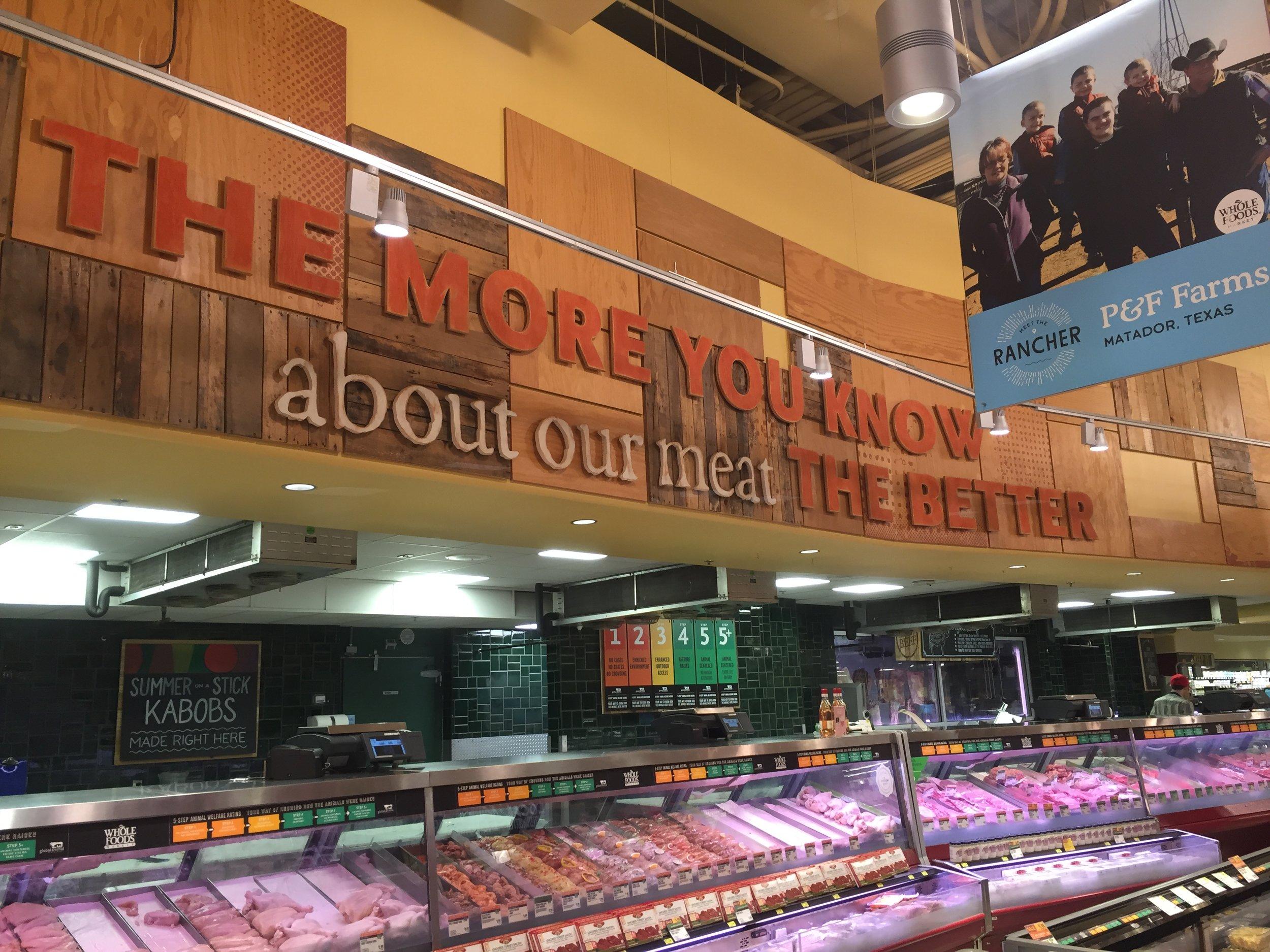 Meat case inside Whole Foods Market in Austin, TX