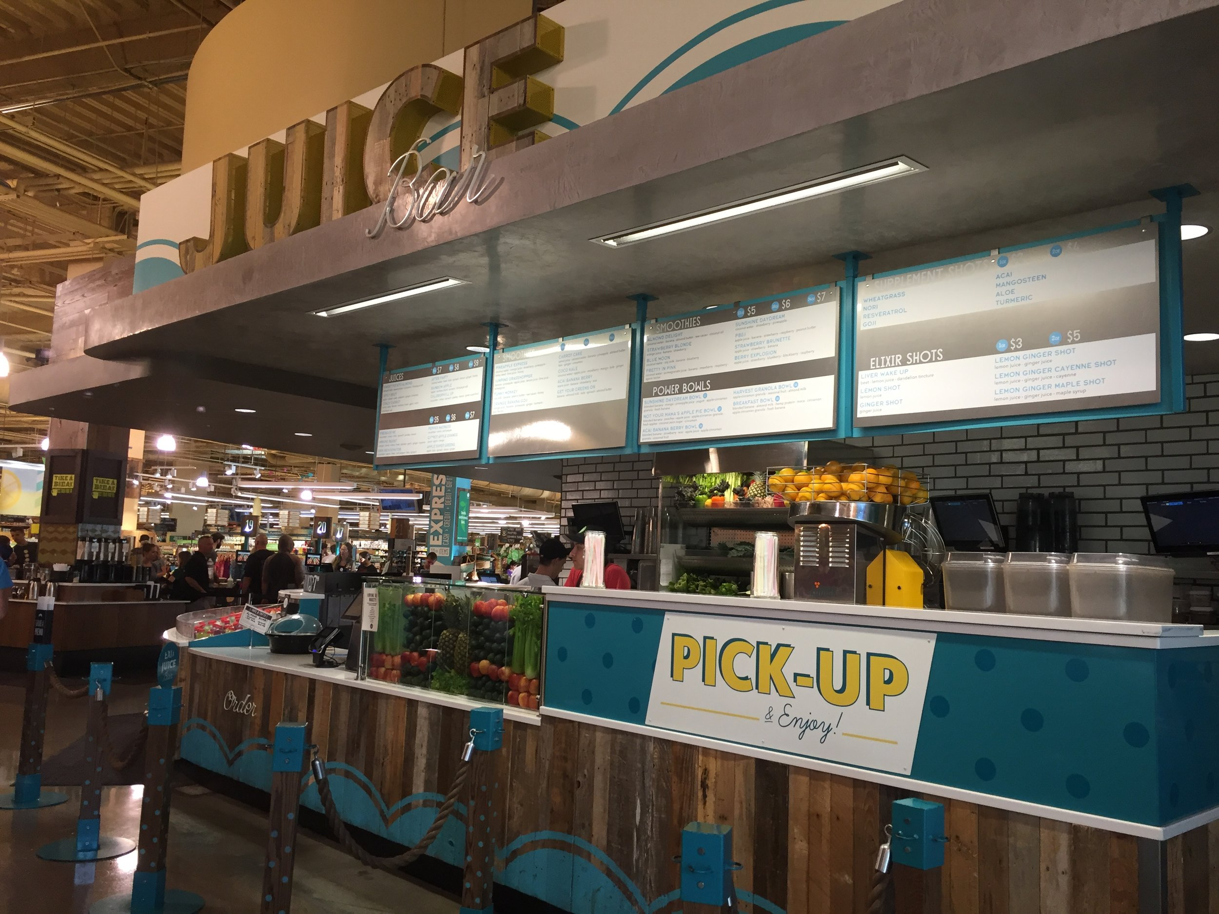 Juice bar inside Whole Foods Market in Austin, TX. Cafe is pretty impressive too; we love their coffee!
