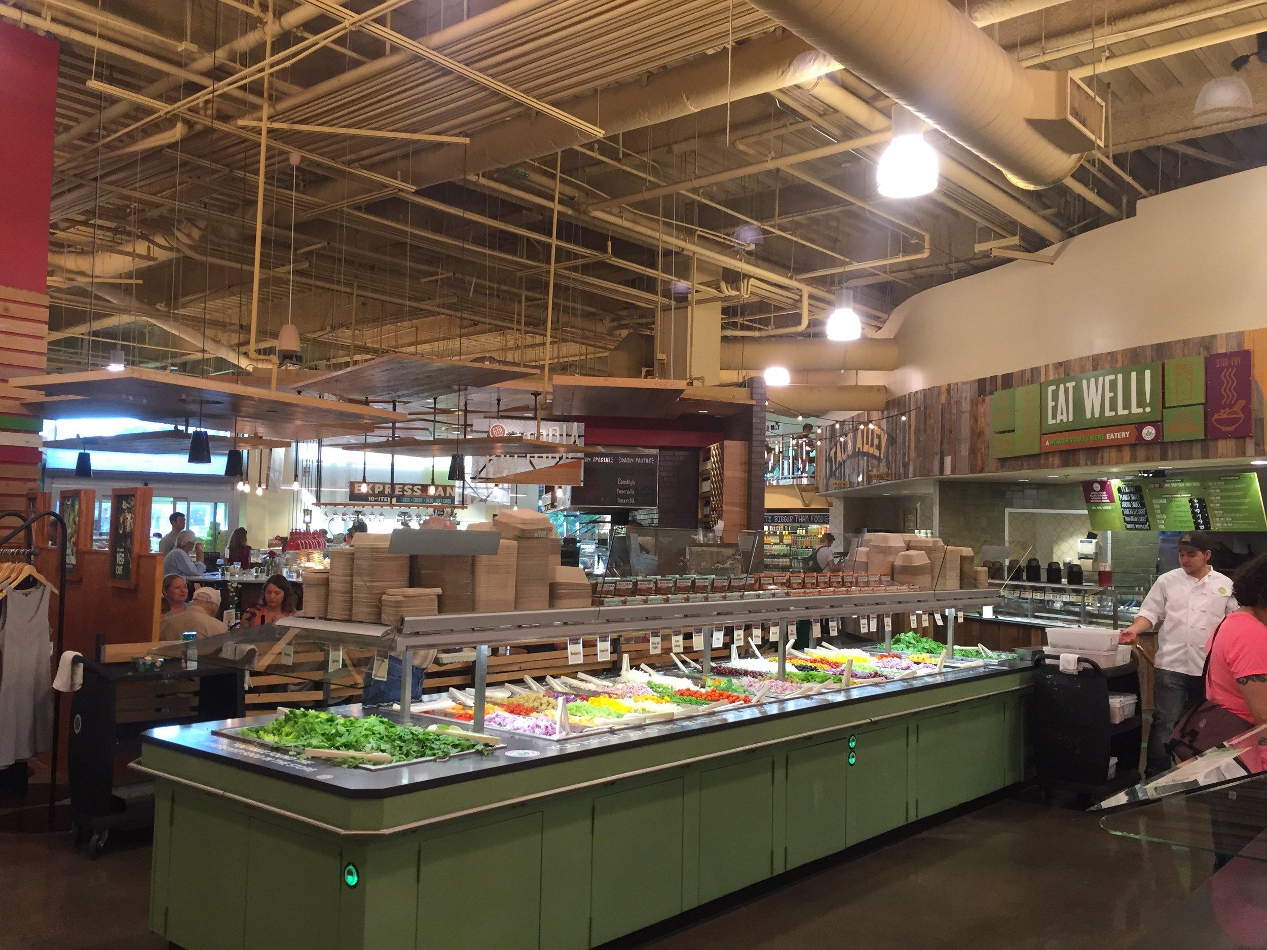 Salad bar inside Whole Foods Market in Austin, TX
