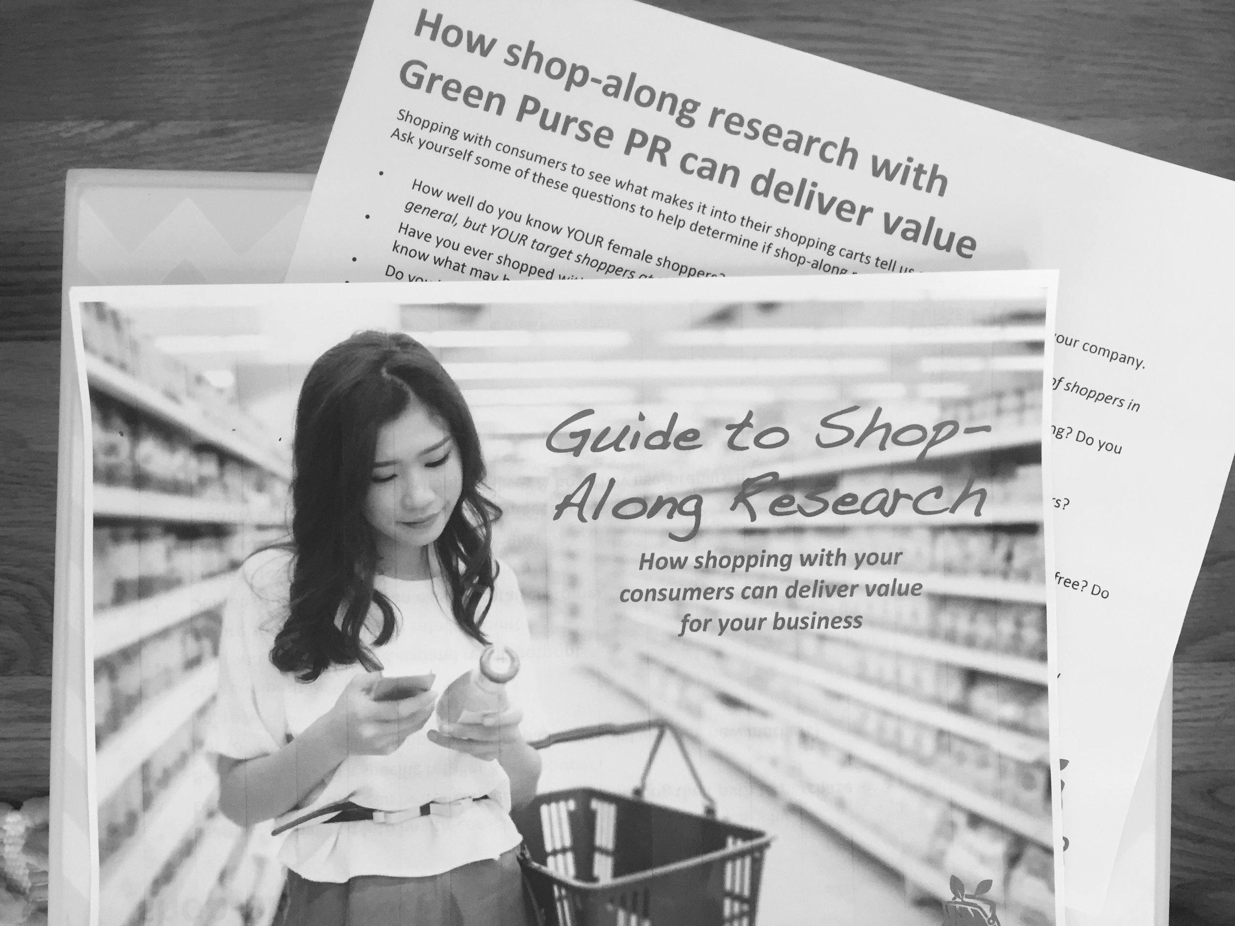 Print out of Green Purse PR's new Guide to Shop-Along Research