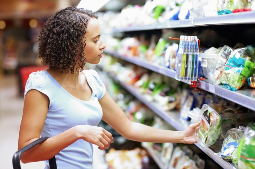 organic shopper in grocery store