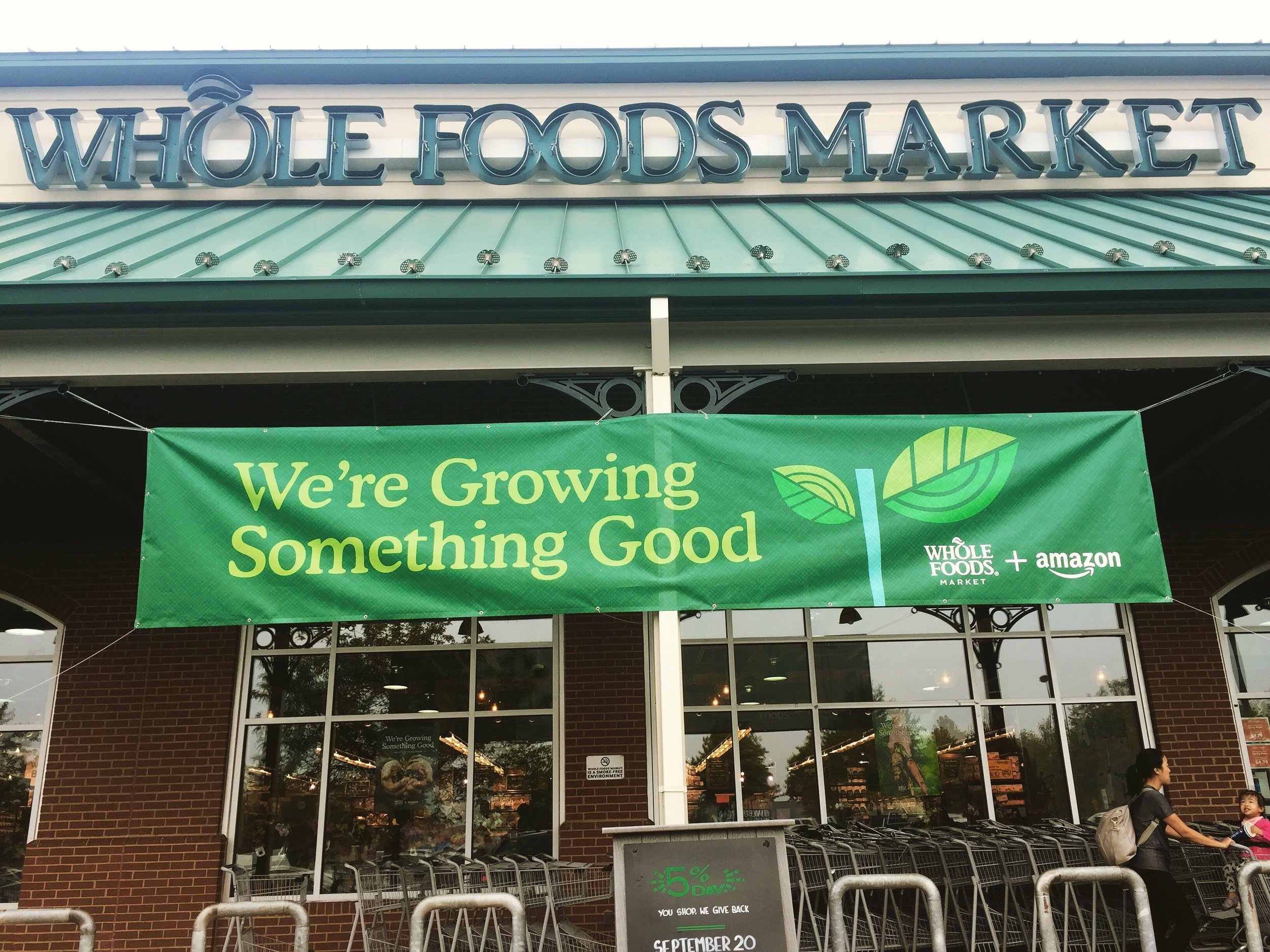 New banner outside a Whole Foods Market store in Gaithersburg, Maryland