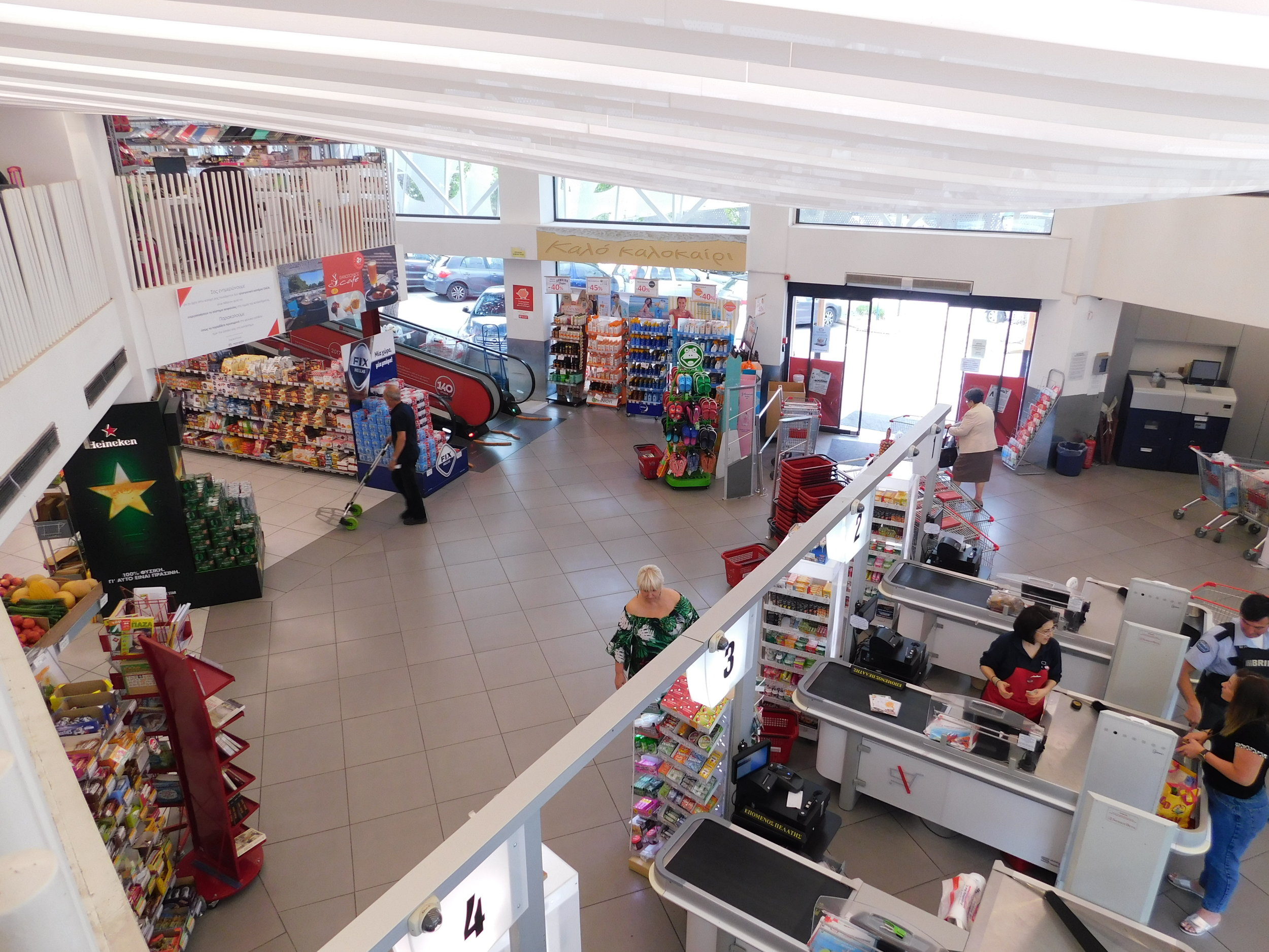 View from the second level, looking down on the cash registers.