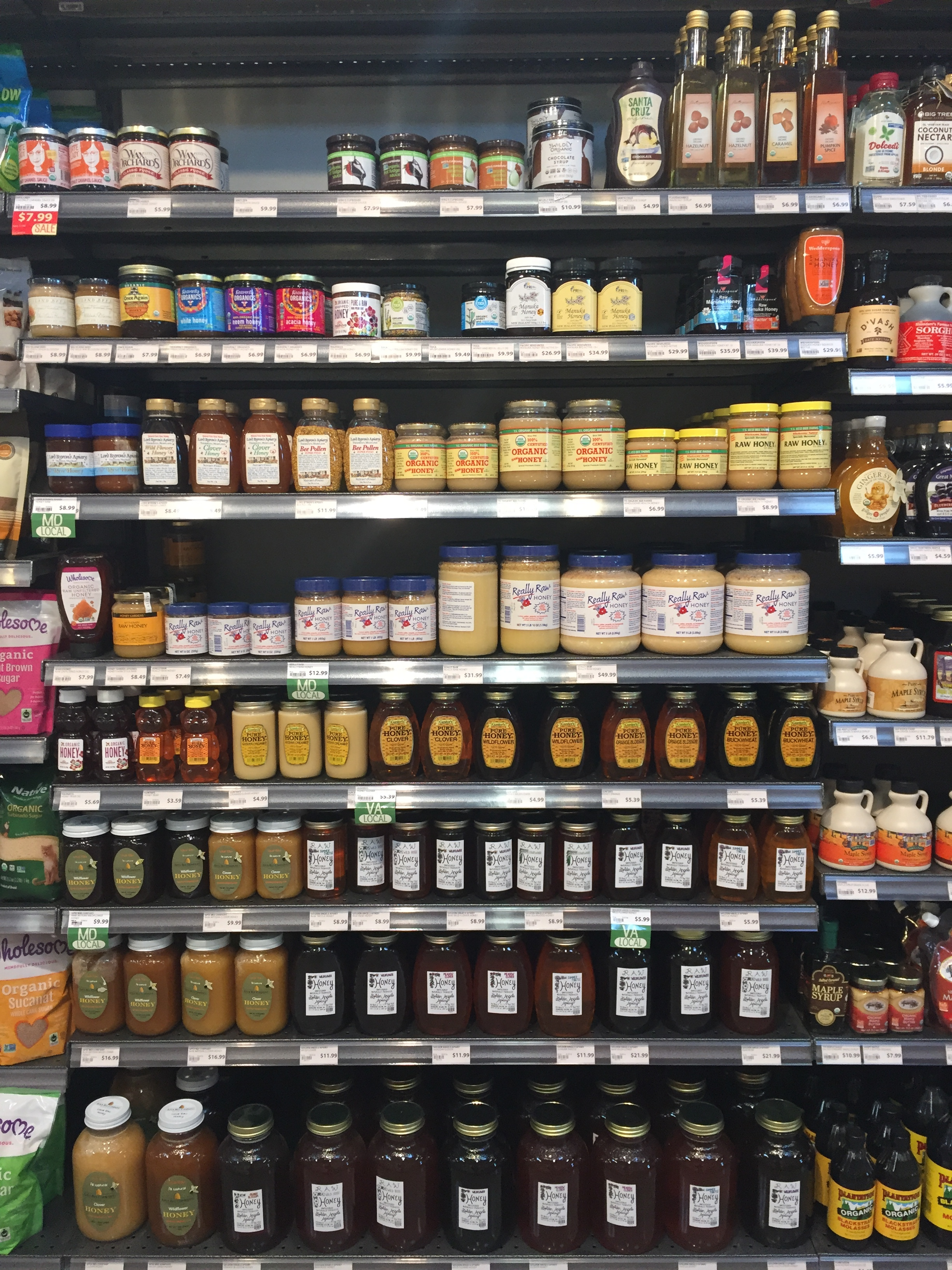This store has a wide selection of honey.