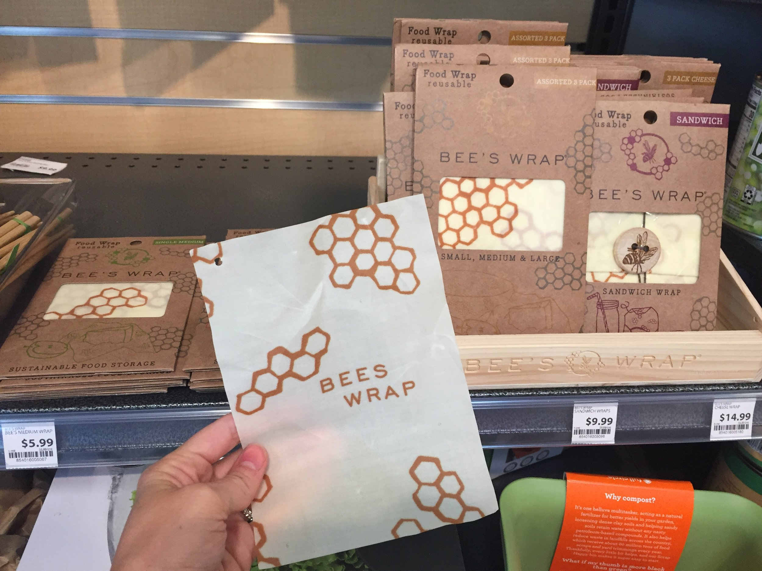 I'm noticing a theme throughout the store -- very bee-friendly. This plastic wrap alternative, Bee Wrap, made from bees wax, is nice.