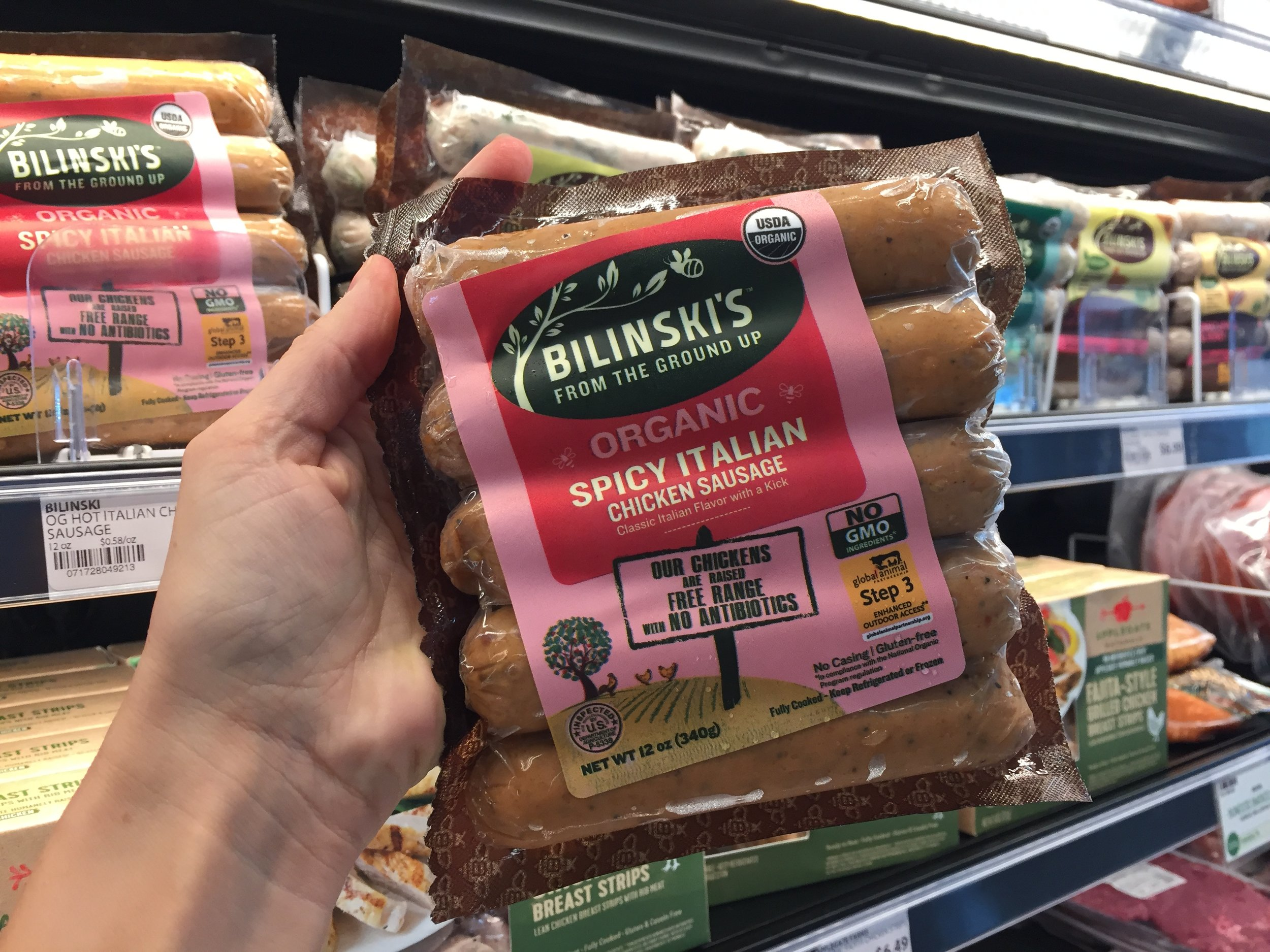 Excited to see the Global Animal Partnership label here, on Bilinski's chicken sausage. That's the label I look for to buy higher welfare meats.