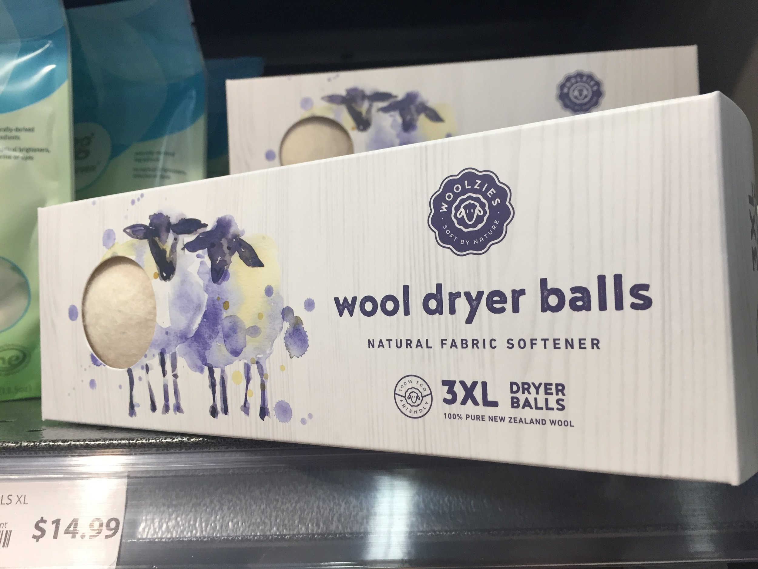 Found some wool dryer balls, also from New Zealand. Love the branding; I bought these too - love to support the New Zealand companies.