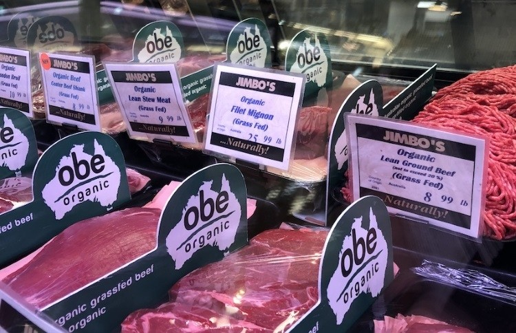 OBE Organic beef at Jimbo's Naturally in California